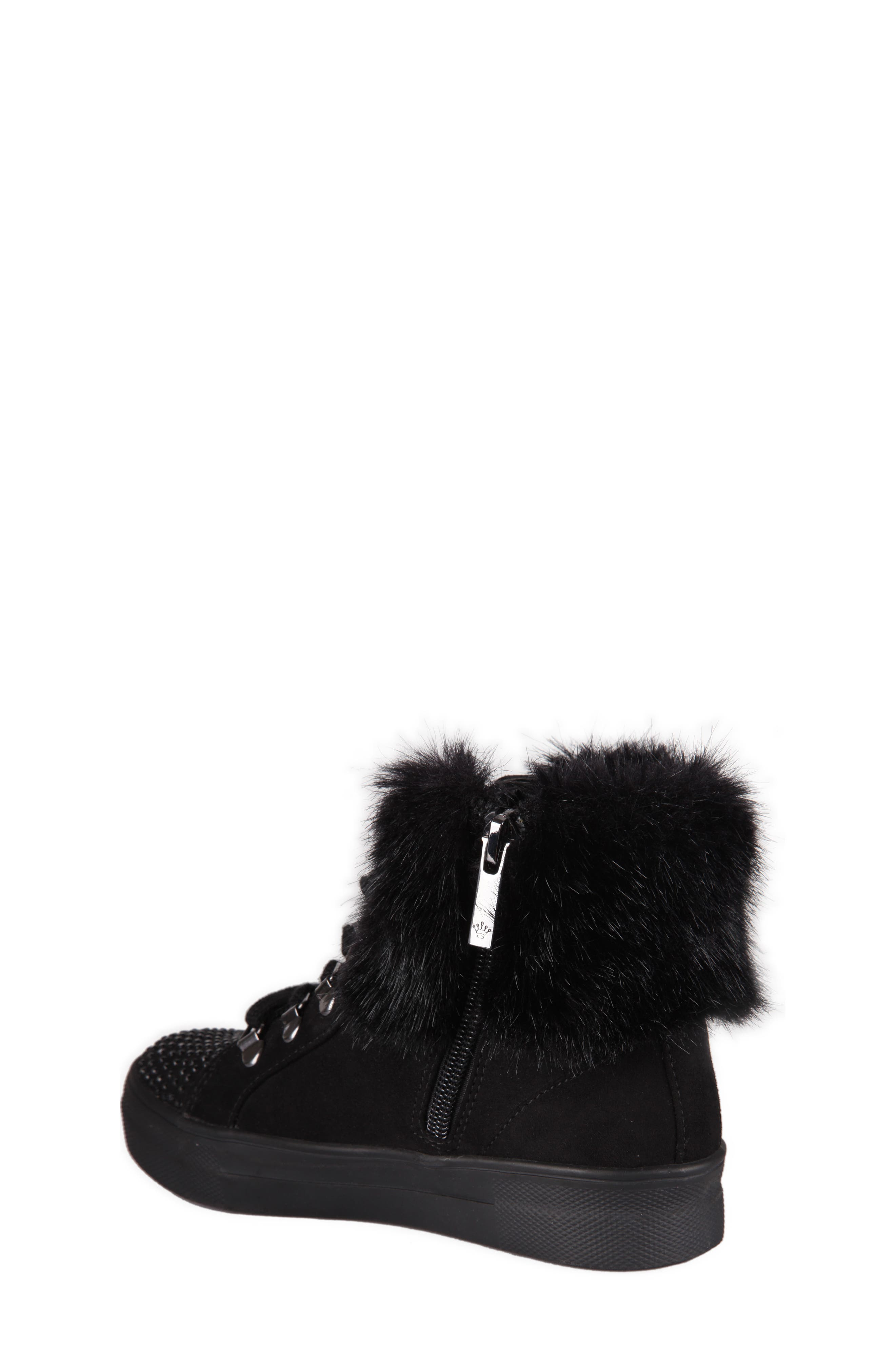 Randi Studded Faux Fur High Top,                             Alternate thumbnail 2, color,                             007
