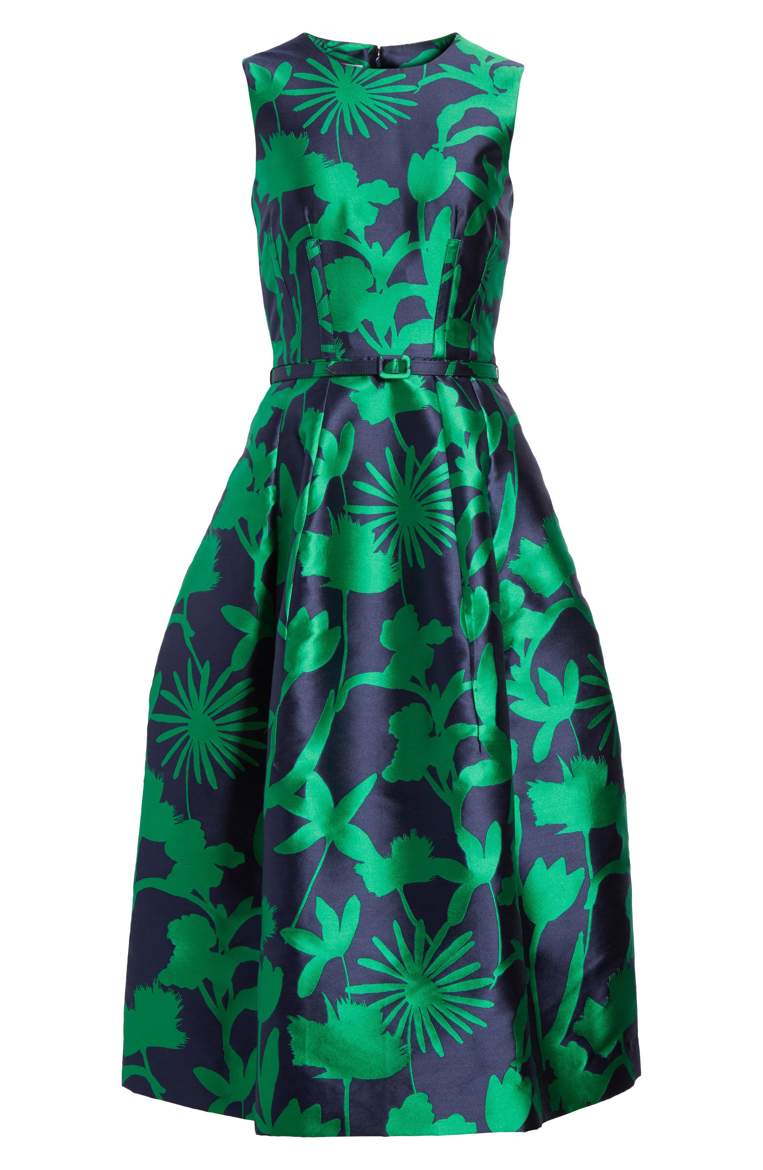 Leaf Print Belted Mikado Dress,                             Alternate thumbnail 6, color,                             404