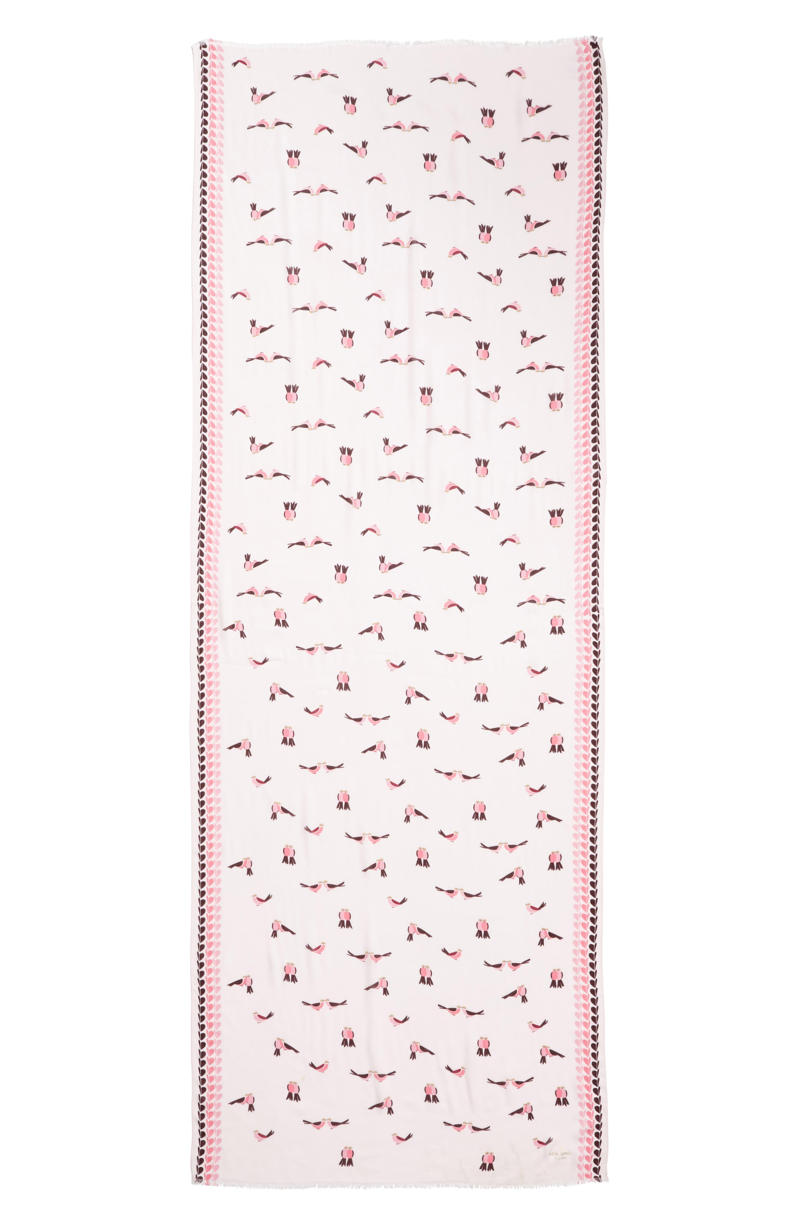 KATE SPADE NEW YORK,                             lovebirds scarf,                             Alternate thumbnail 3, color,                             PINK MAJOLICA