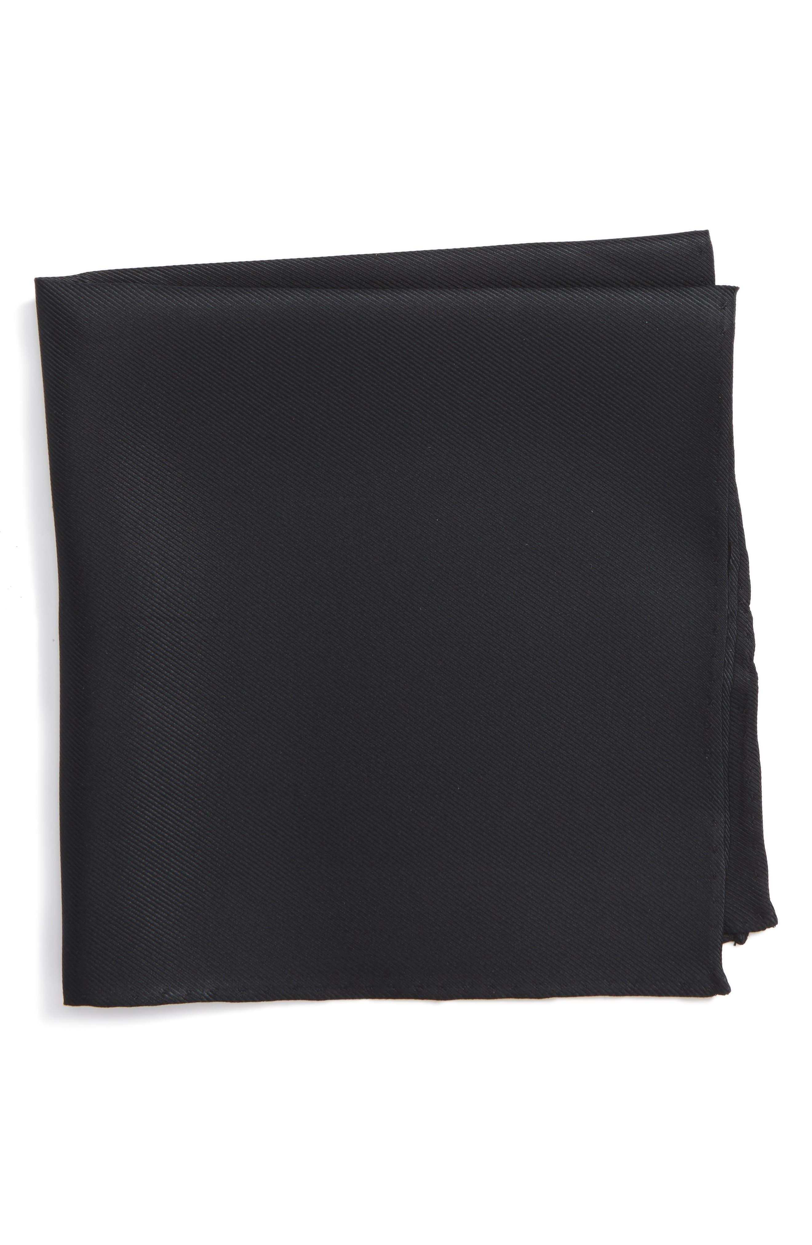 Solid Silk Pocket Square,                         Main,                         color, 001