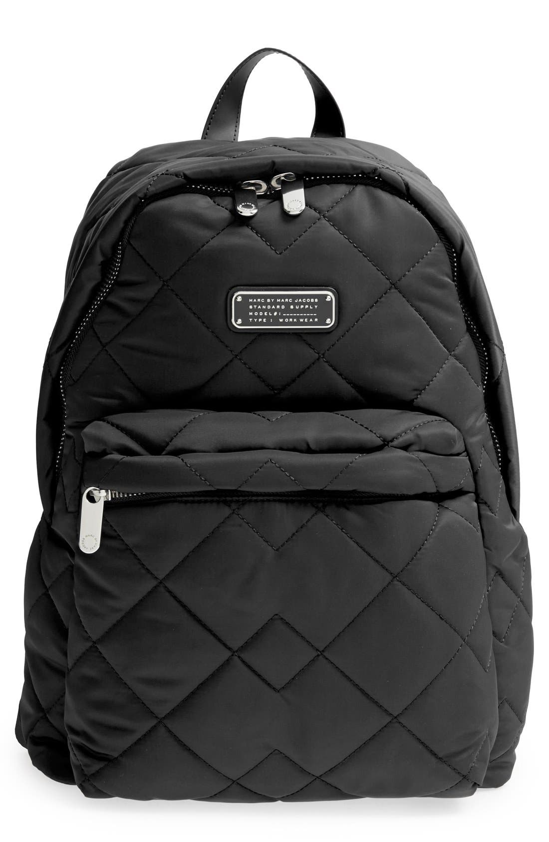 MARC BY MARC JACOBS 'Crosby' Quilted Nylon Backpack,                             Main thumbnail 1, color,                             001