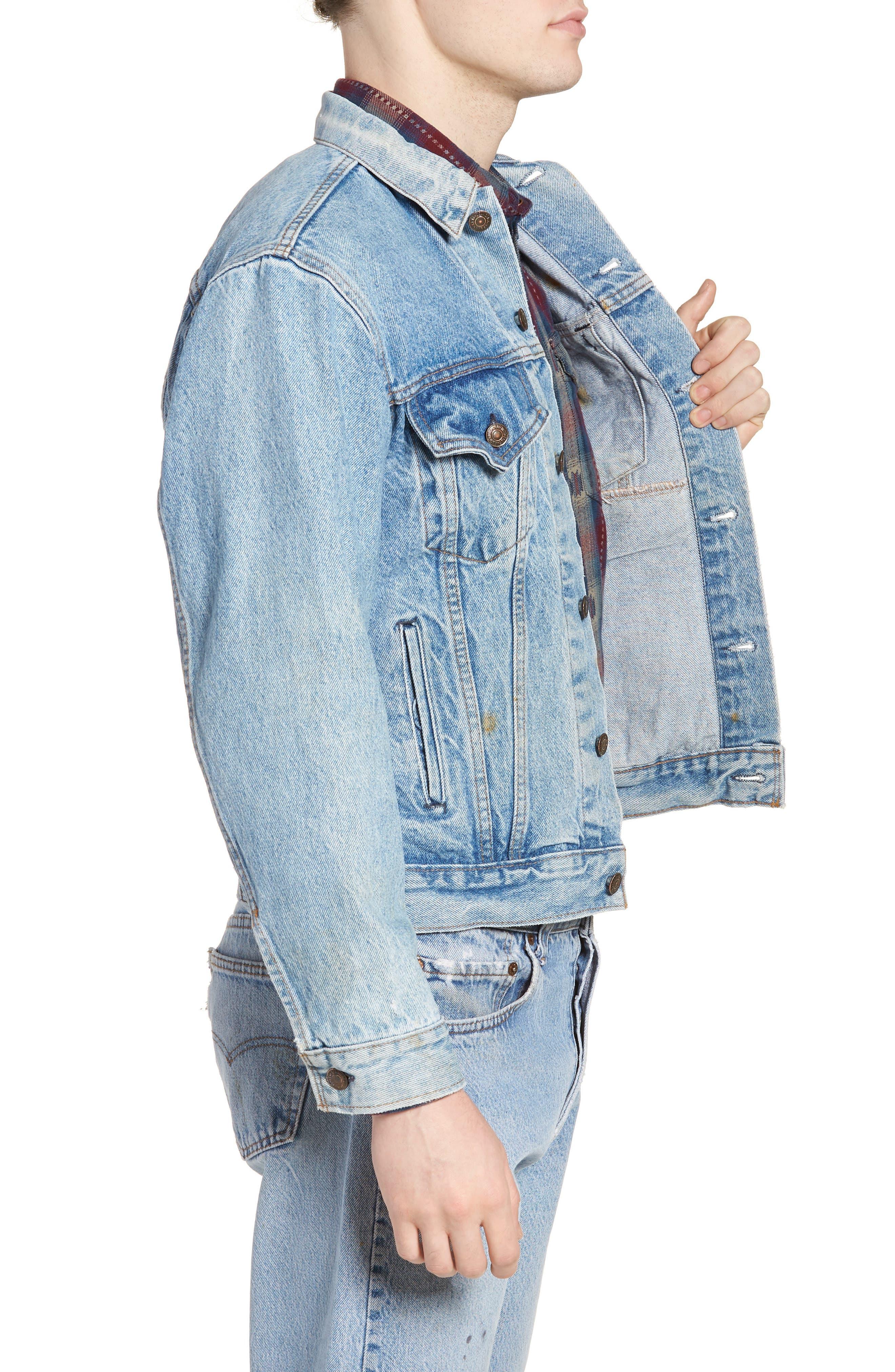 Authorized Vintage Trucker Jacket,                             Alternate thumbnail 3, color,                             AV BLUE