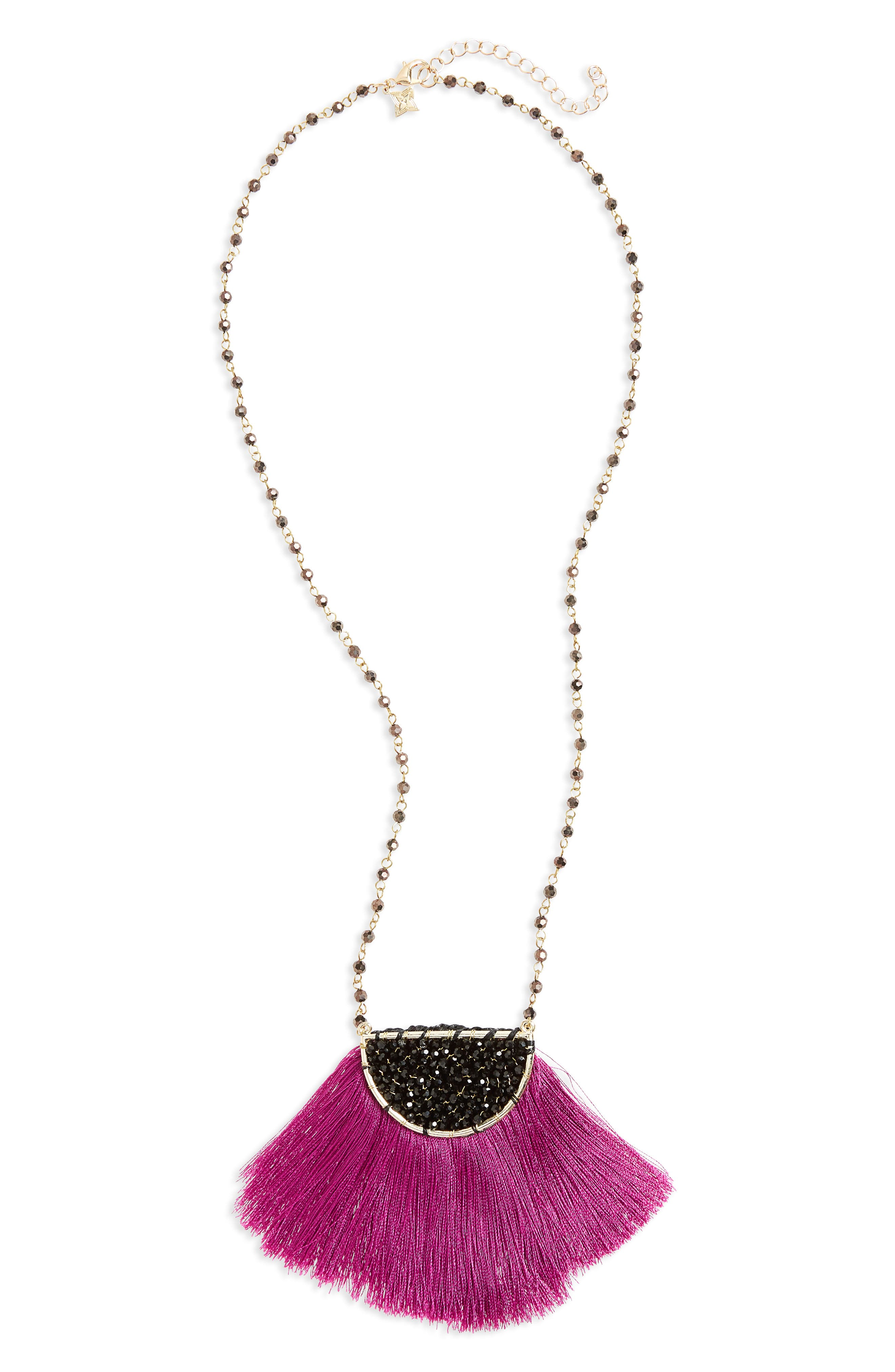 Fringe Pendant Necklace,                         Main,                         color, 500