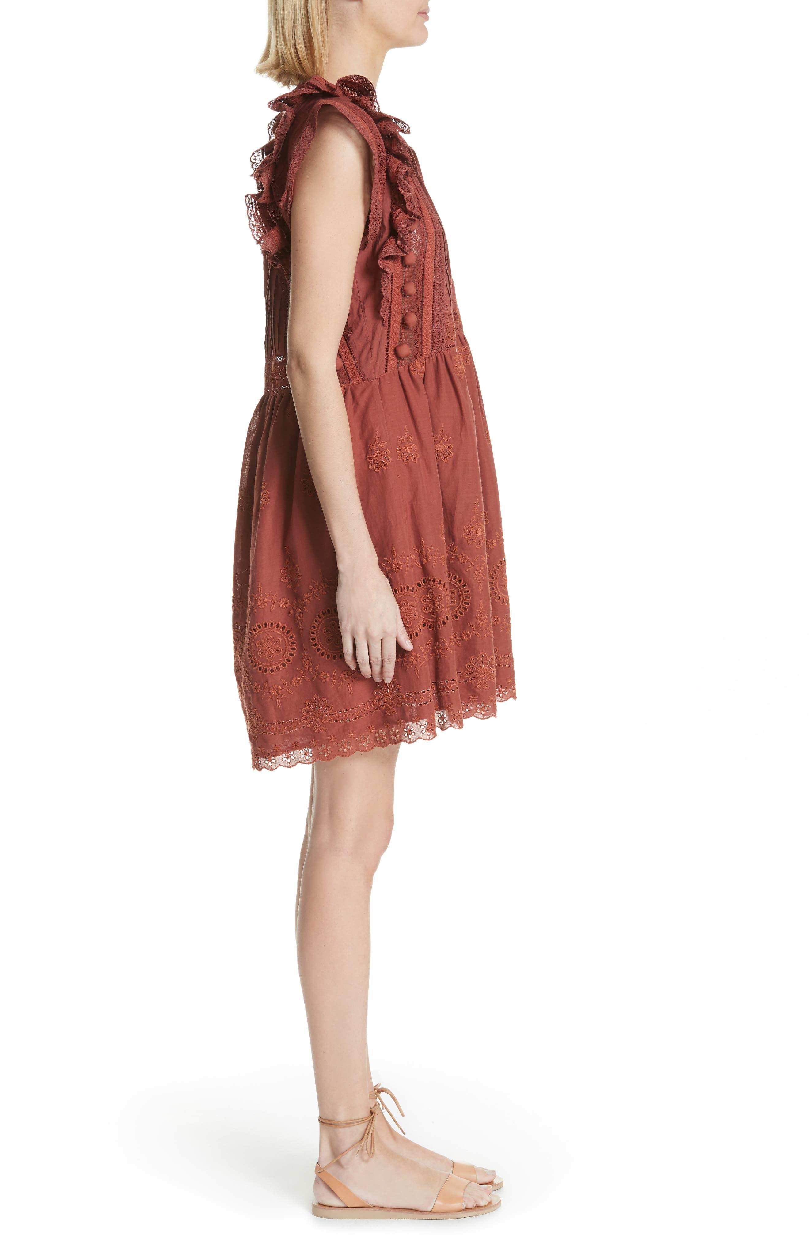 Sofie Lace & Pompom Dress,                             Alternate thumbnail 3, color,                             CLAY