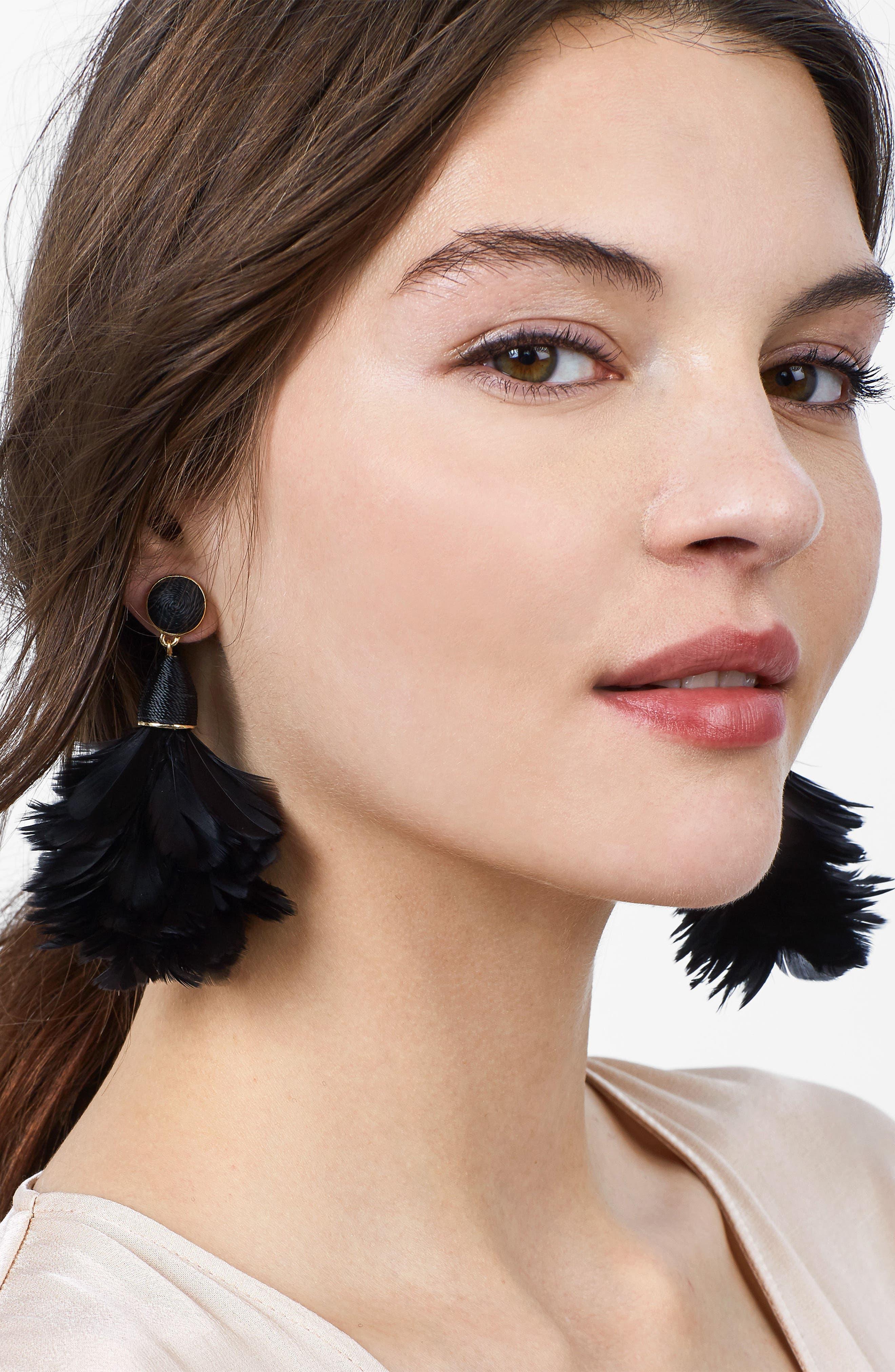 Parisian Feather Tassel Drop Earrings,                             Alternate thumbnail 2, color,                             001