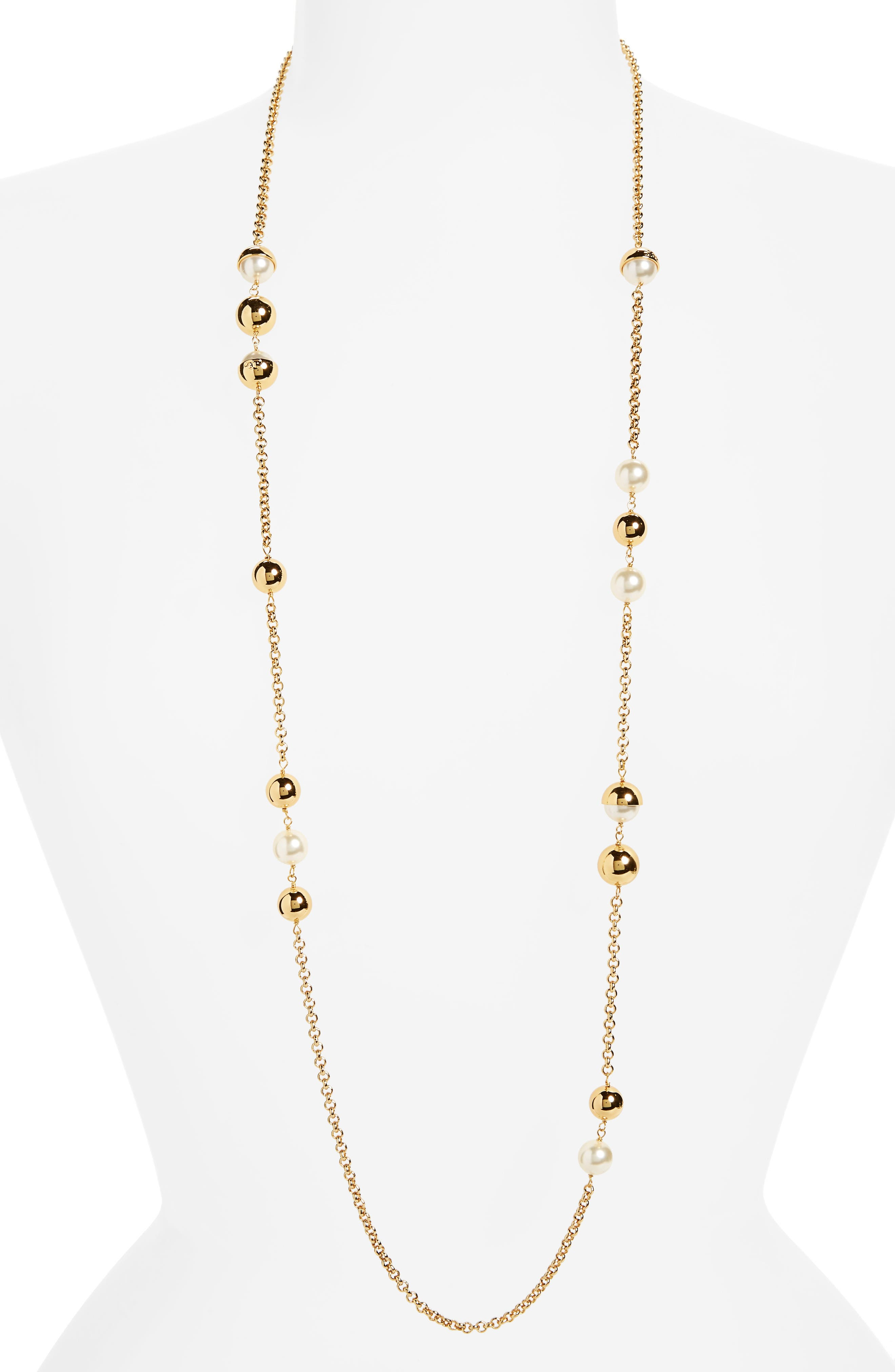 Imitation Pearl Station Necklace,                             Main thumbnail 1, color,                             IVORY / TORY GOLD