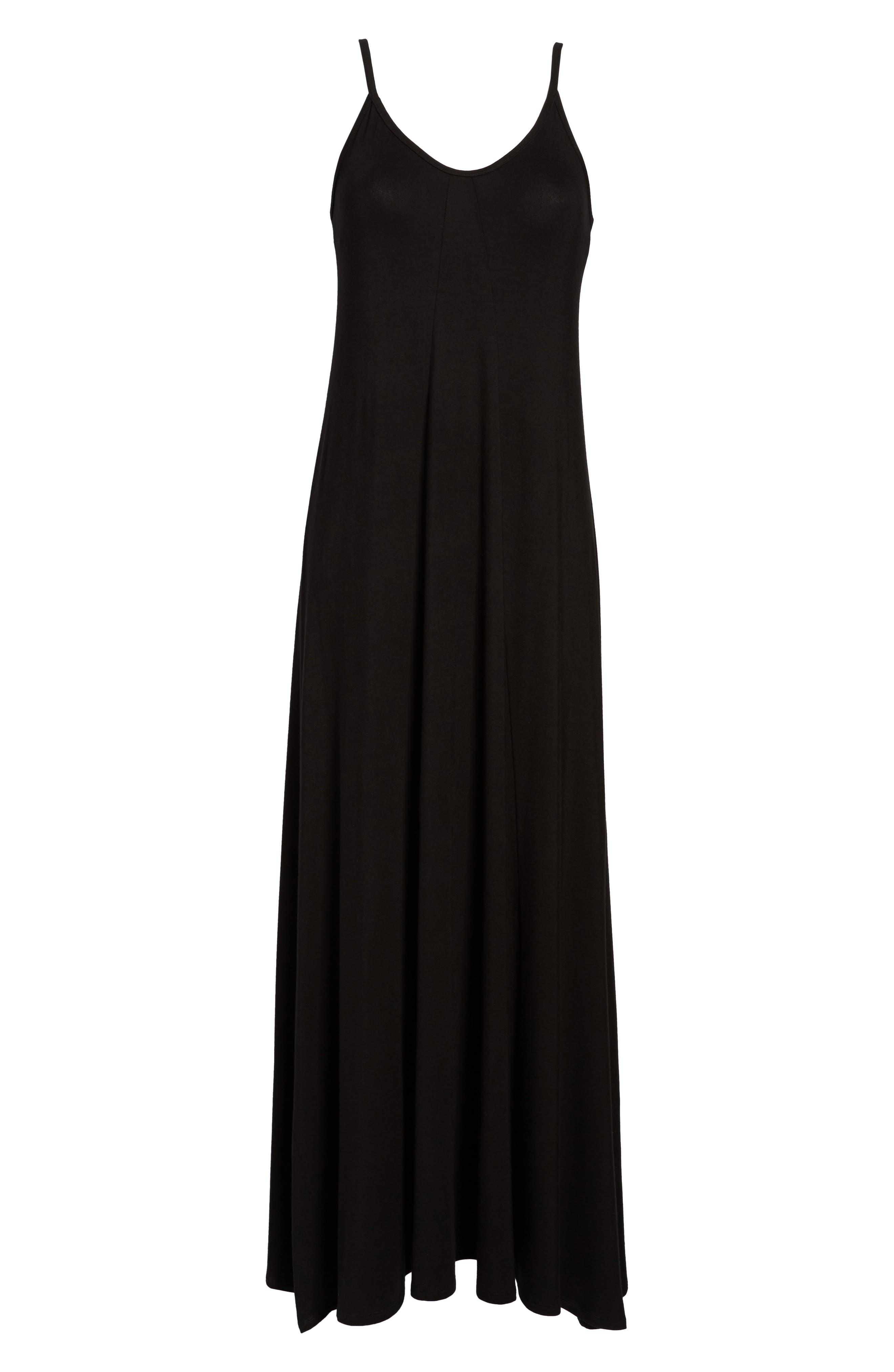 Maxi Dress,                             Alternate thumbnail 8, color,                             BLACK