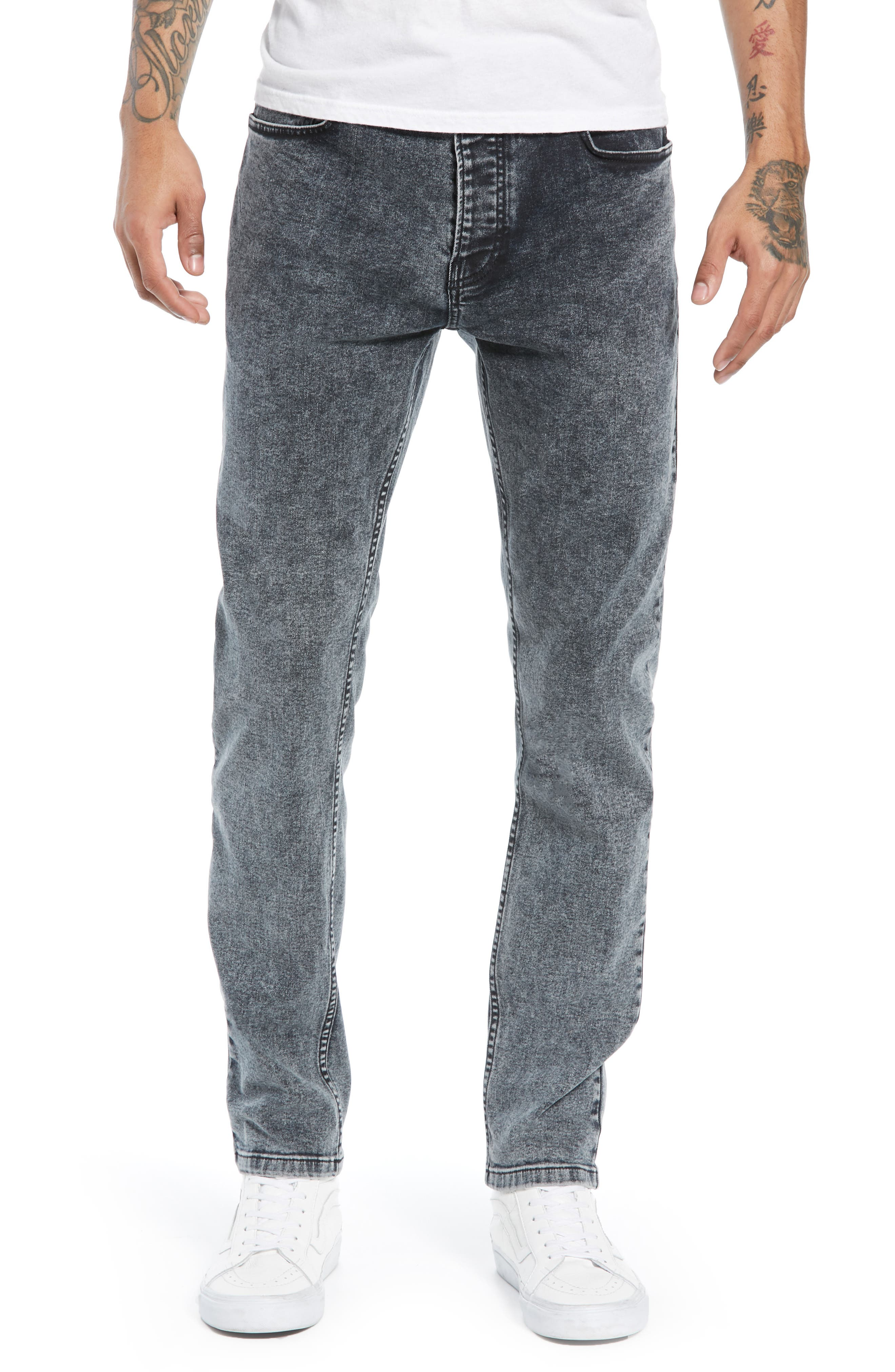 Acid Wash Stretch Skinny Jeans,                             Main thumbnail 1, color,                             GREY