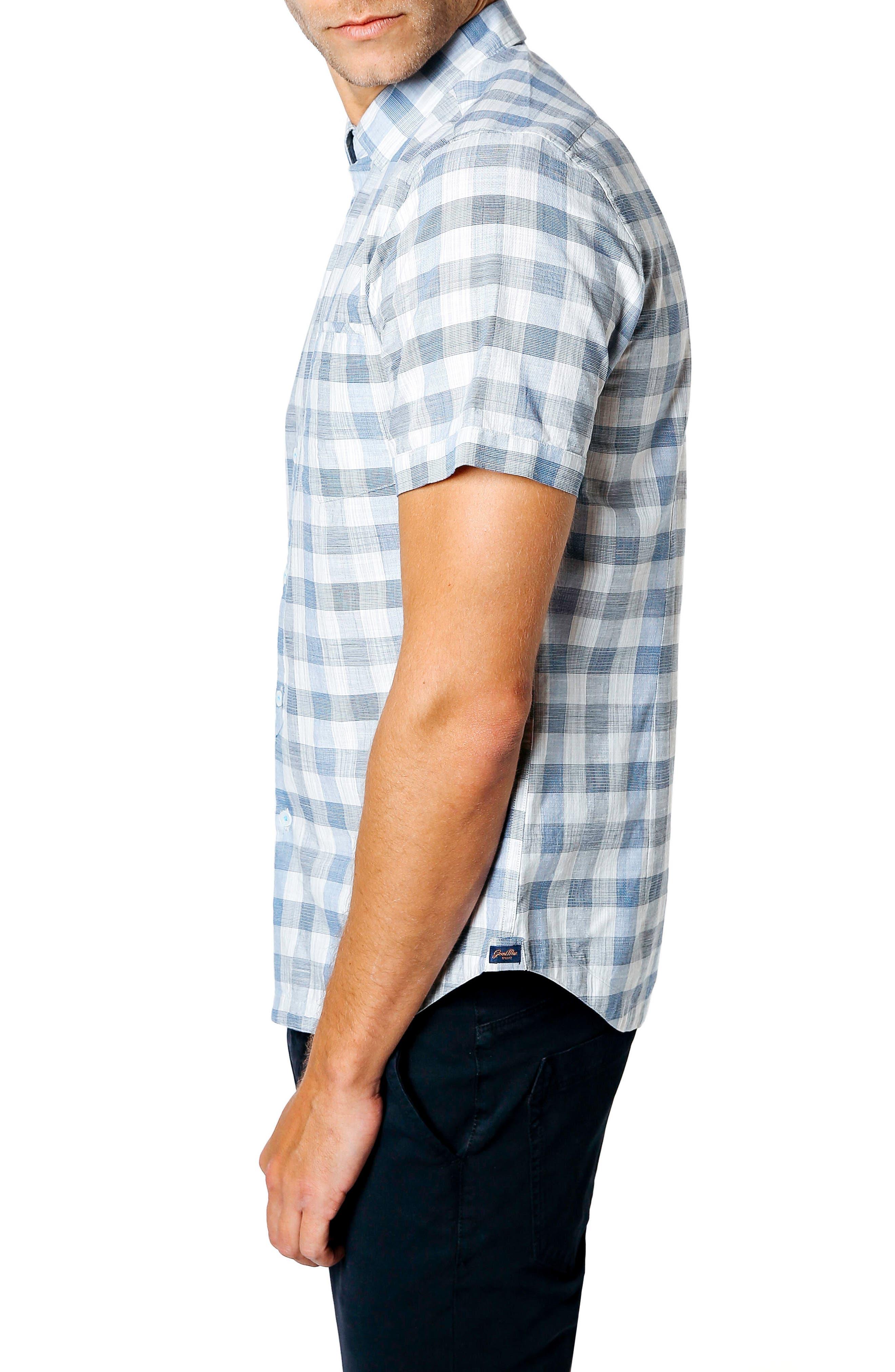 Trim Fit Check Sport Shirt,                             Alternate thumbnail 3, color,                             BLUE