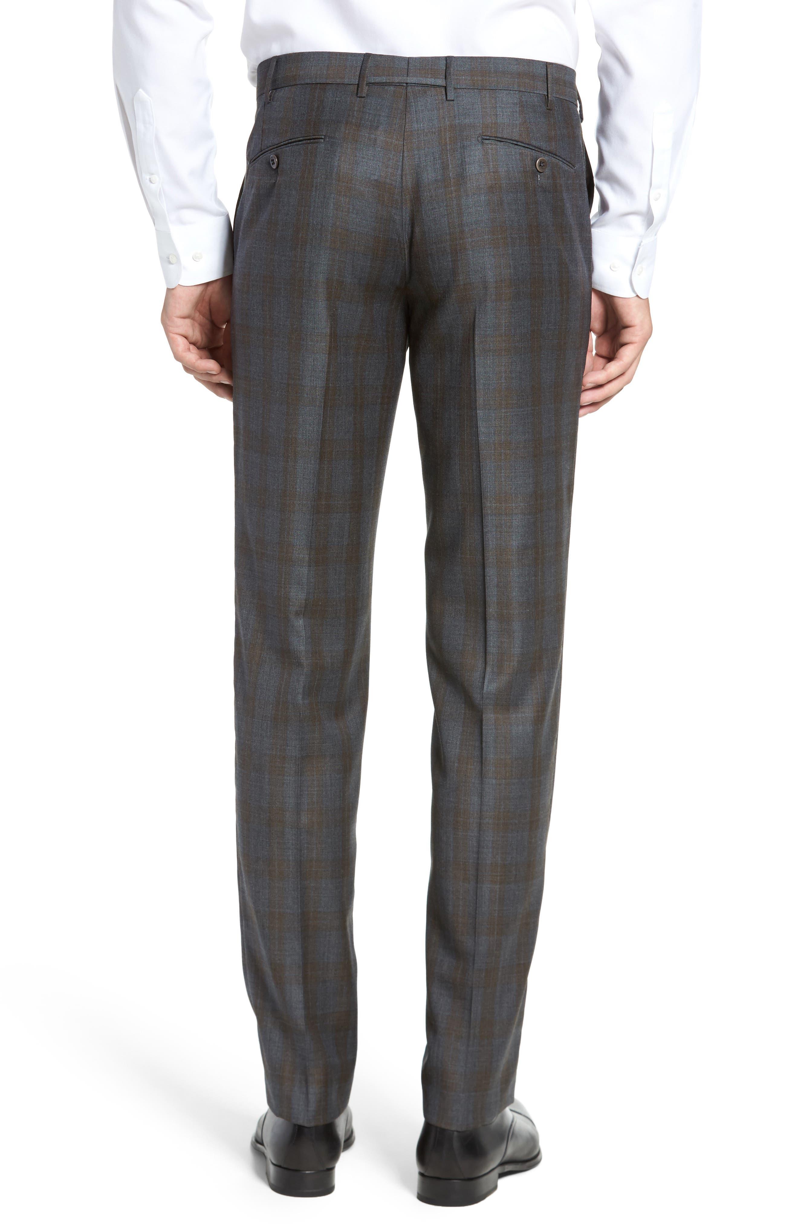 Parker Flat Front Plaid Wool Trousers,                             Alternate thumbnail 3, color,                             021