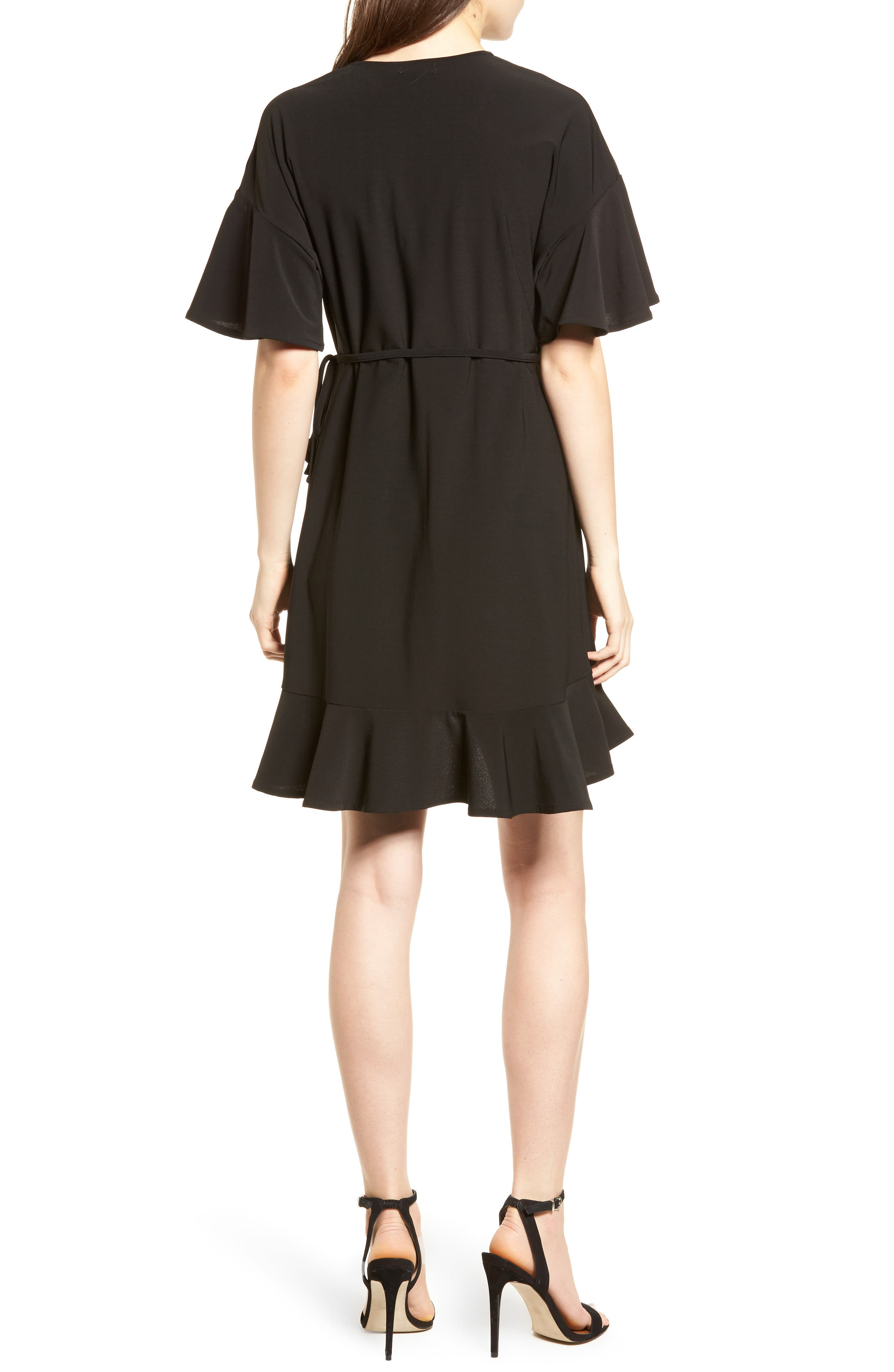 Flounce Sleeve Wrap Dress,                             Alternate thumbnail 2, color,                             001