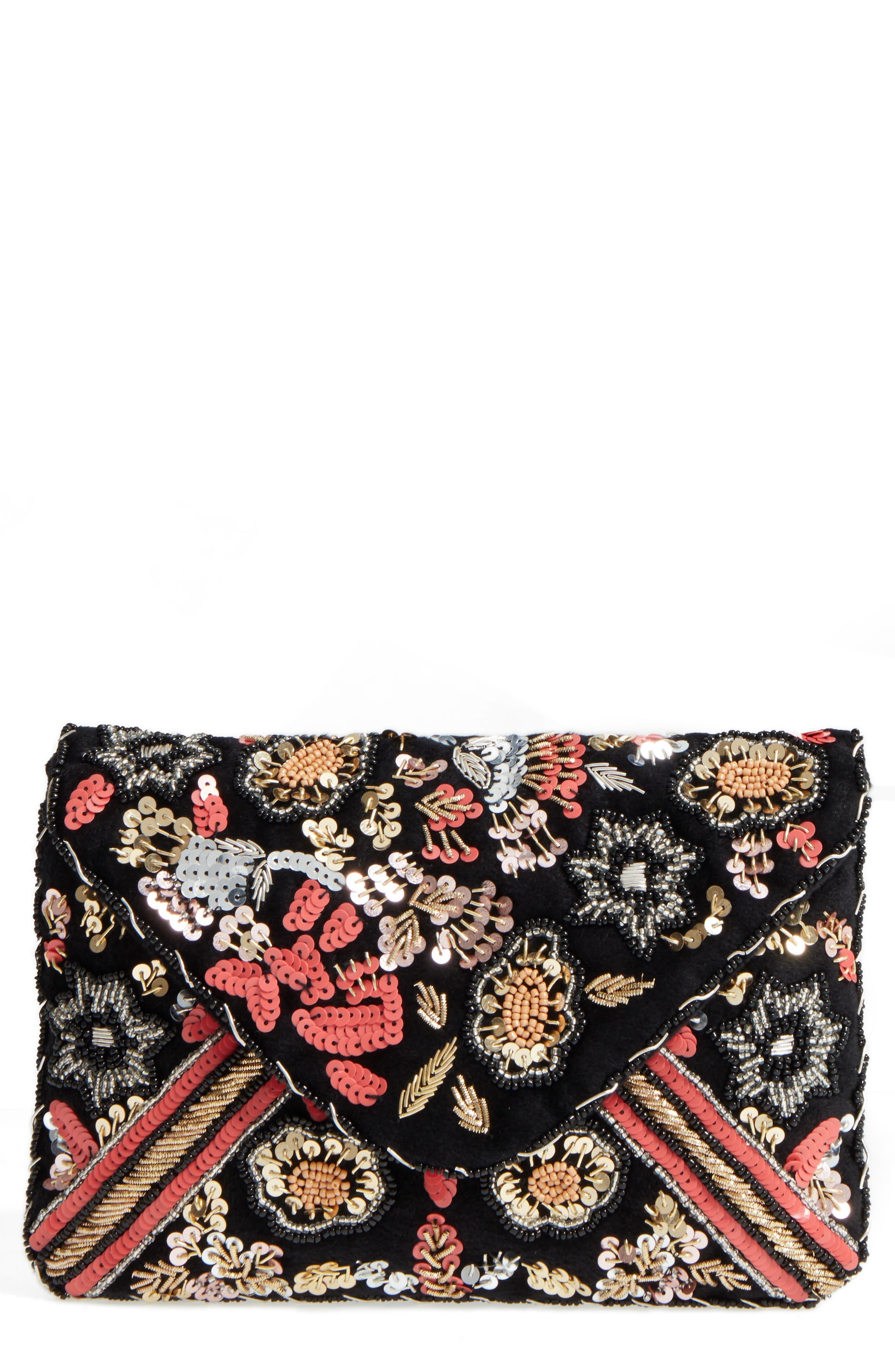 Floral Sequin Clutch,                             Main thumbnail 1, color,                             001