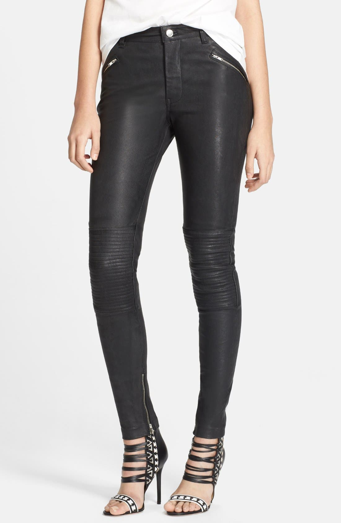 Leather Motorcycle Pants,                             Main thumbnail 1, color,                             001