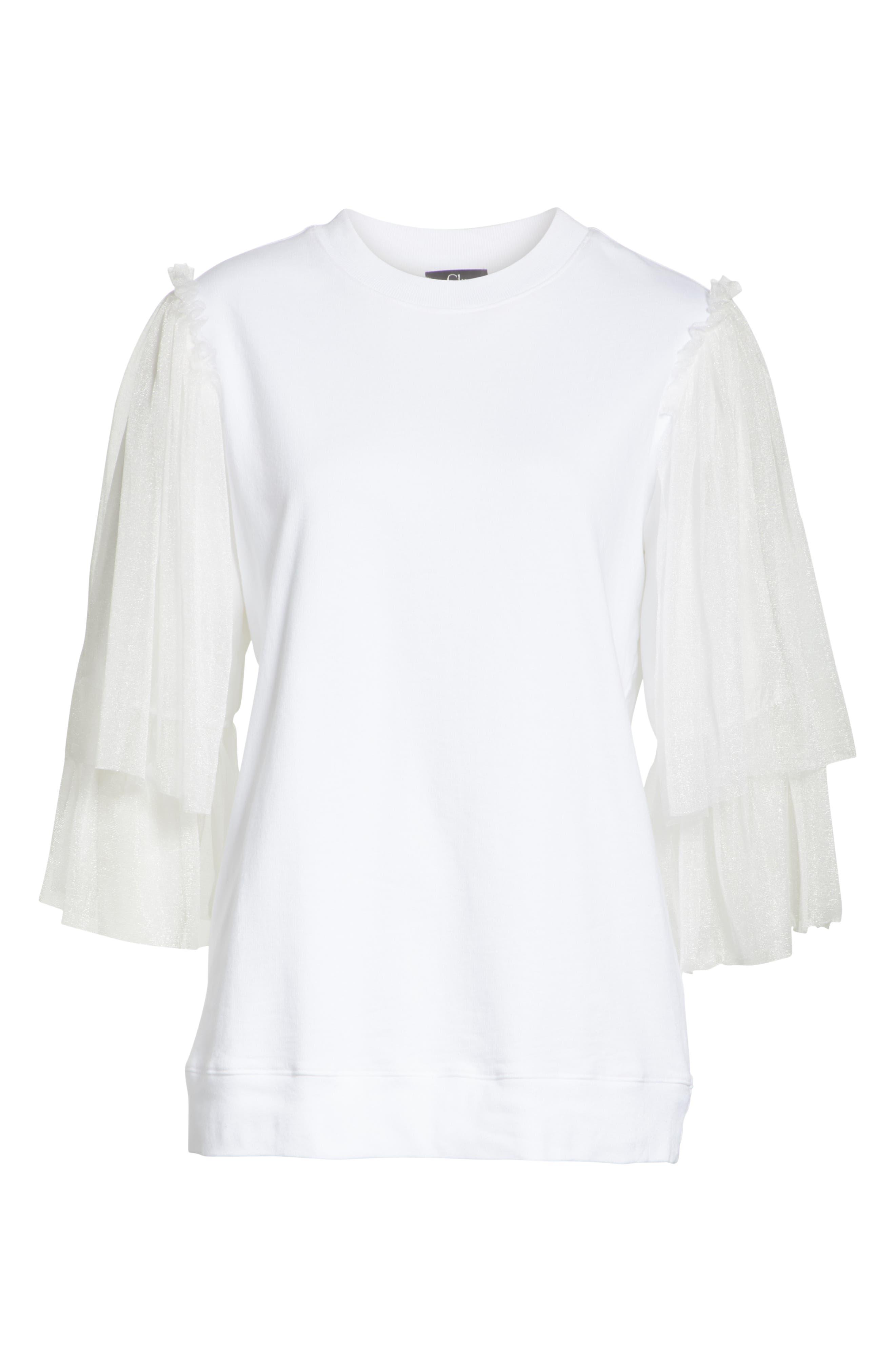 Tulle Sleeve Sweatshirt,                             Alternate thumbnail 6, color,                             WHITE