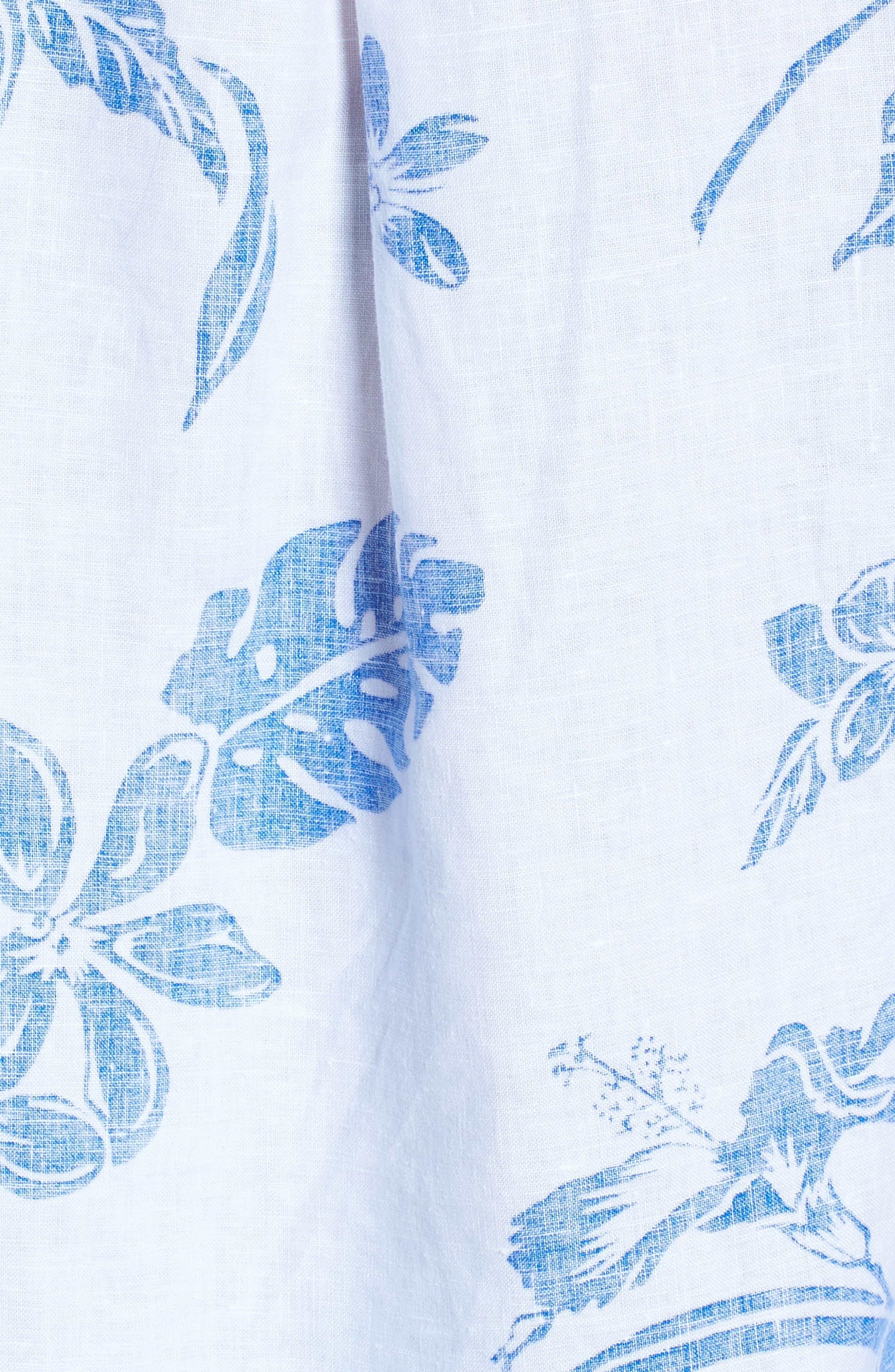 Hibiscus Hiatus Long Sleeve Top,                             Alternate thumbnail 5, color,                             WHITE/ COBALT