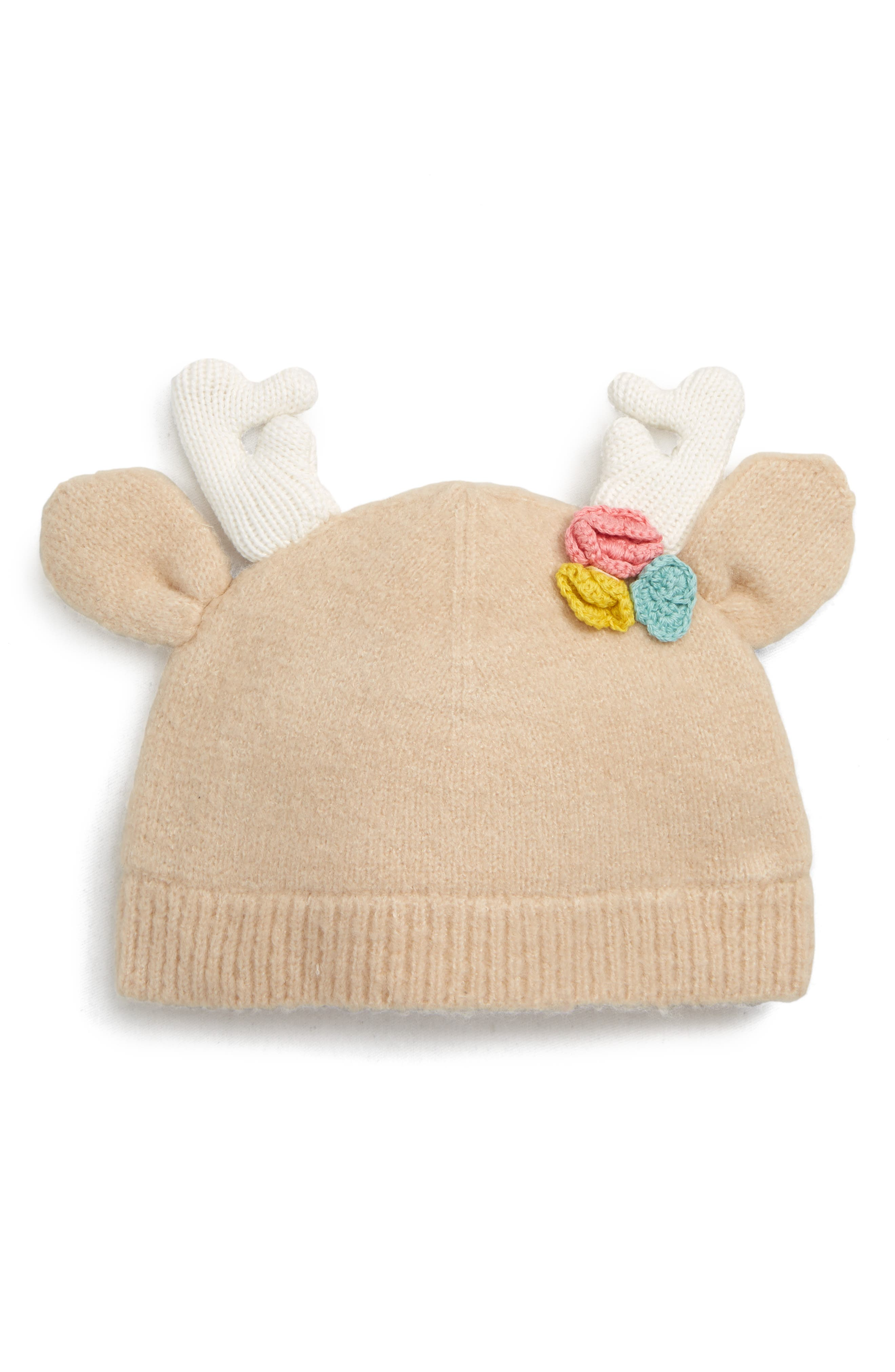 Cozy Floral Reindeer Hat,                             Main thumbnail 1, color,                             BEIGE SMOKE
