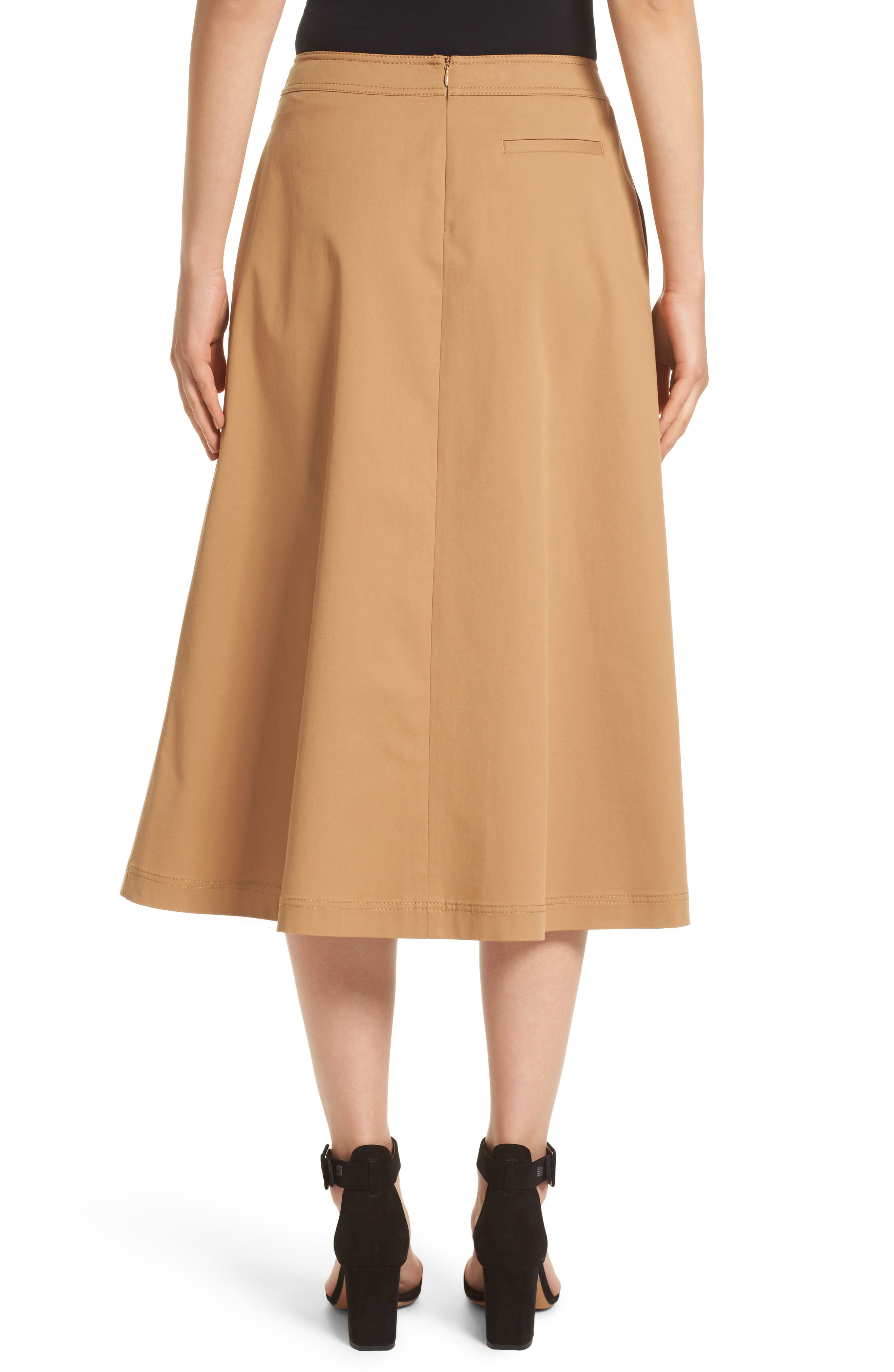 Rosella Stretch Cotton Midi Skirt,                             Alternate thumbnail 2, color,                             219