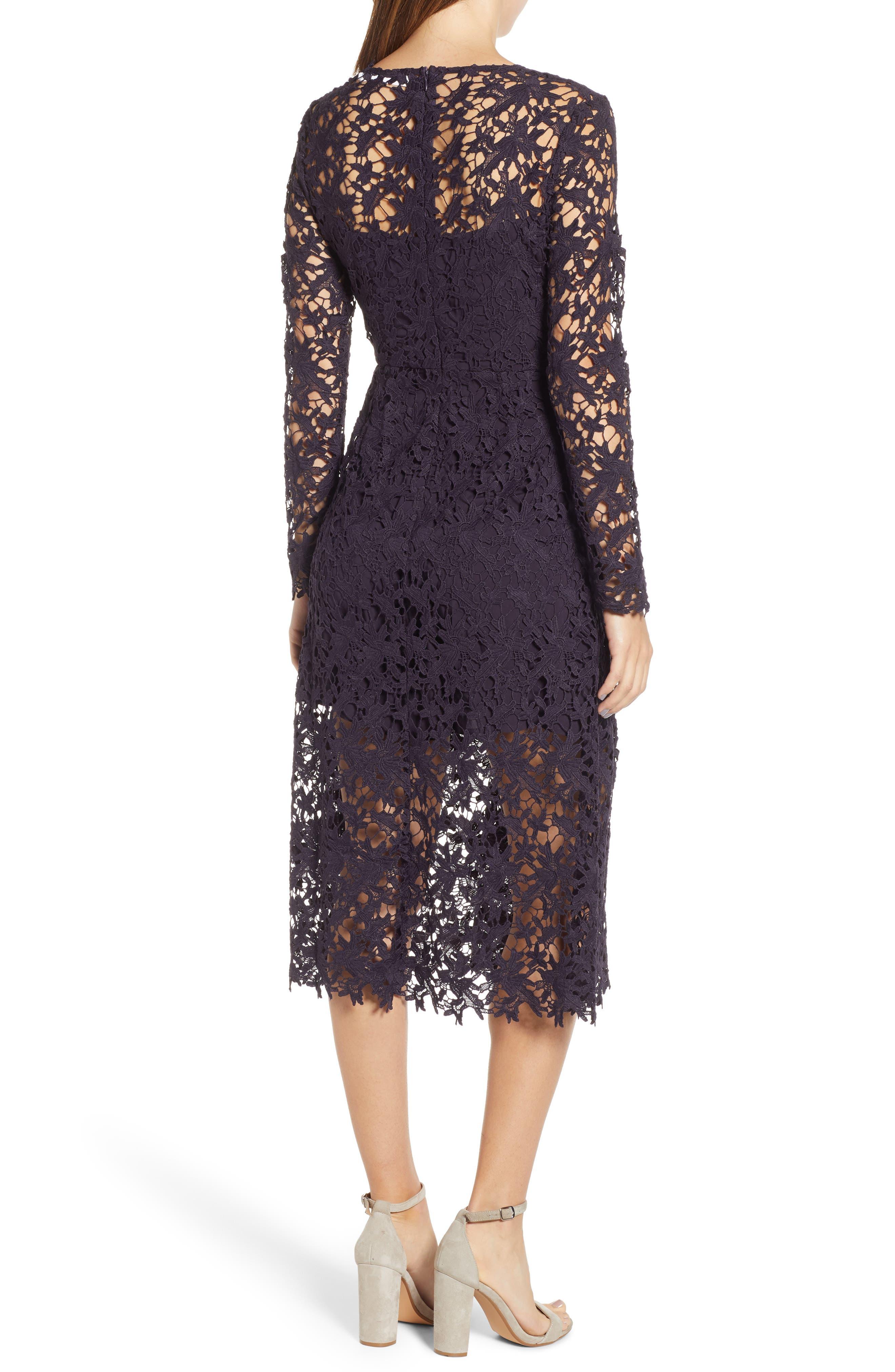 Lace Midi Dress,                             Alternate thumbnail 2, color,                             EGGPLANT