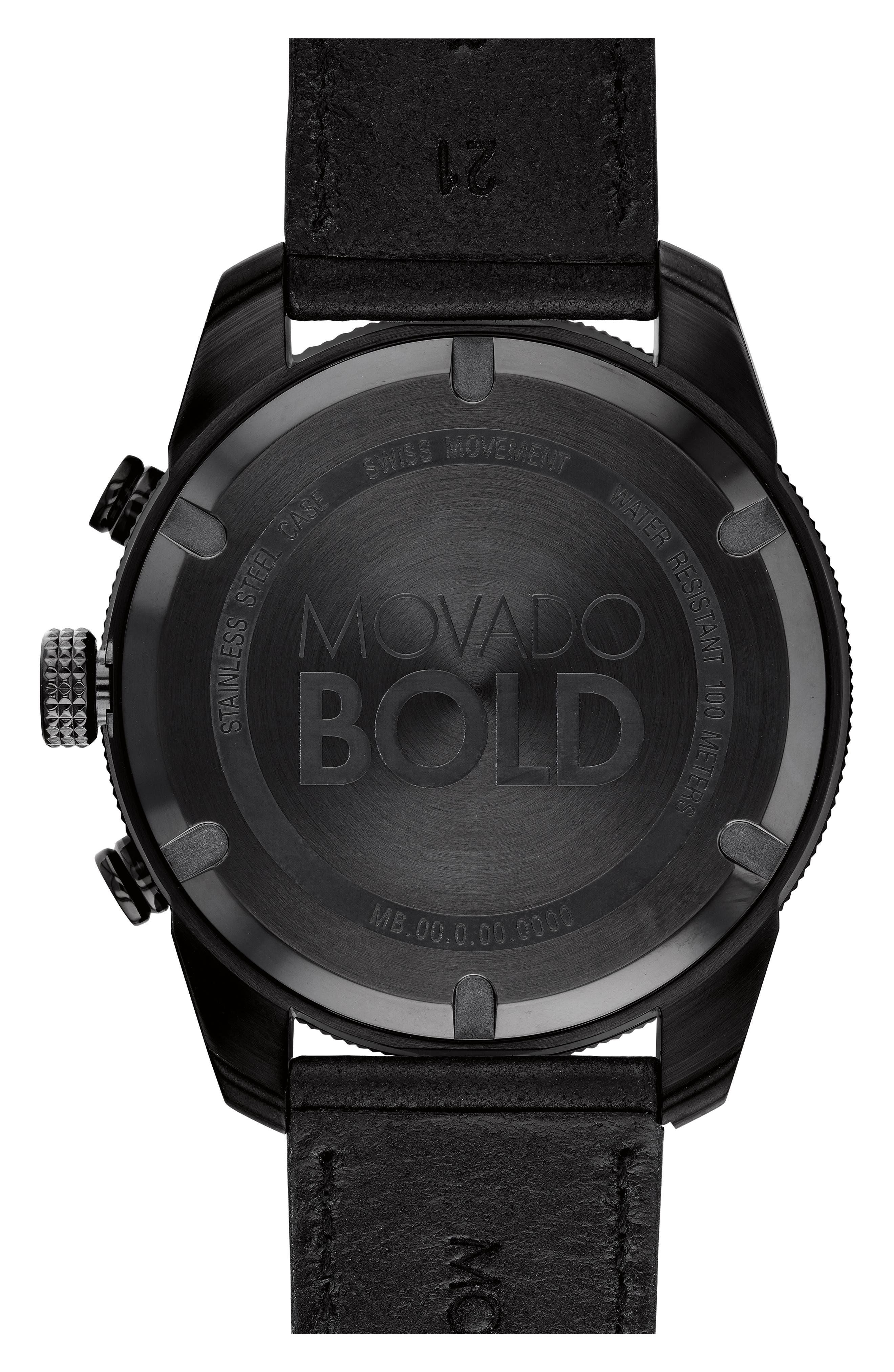 Bold Sport Chronograph Leather Strap Watch, 44mm,                             Alternate thumbnail 2, color,                             BLACK