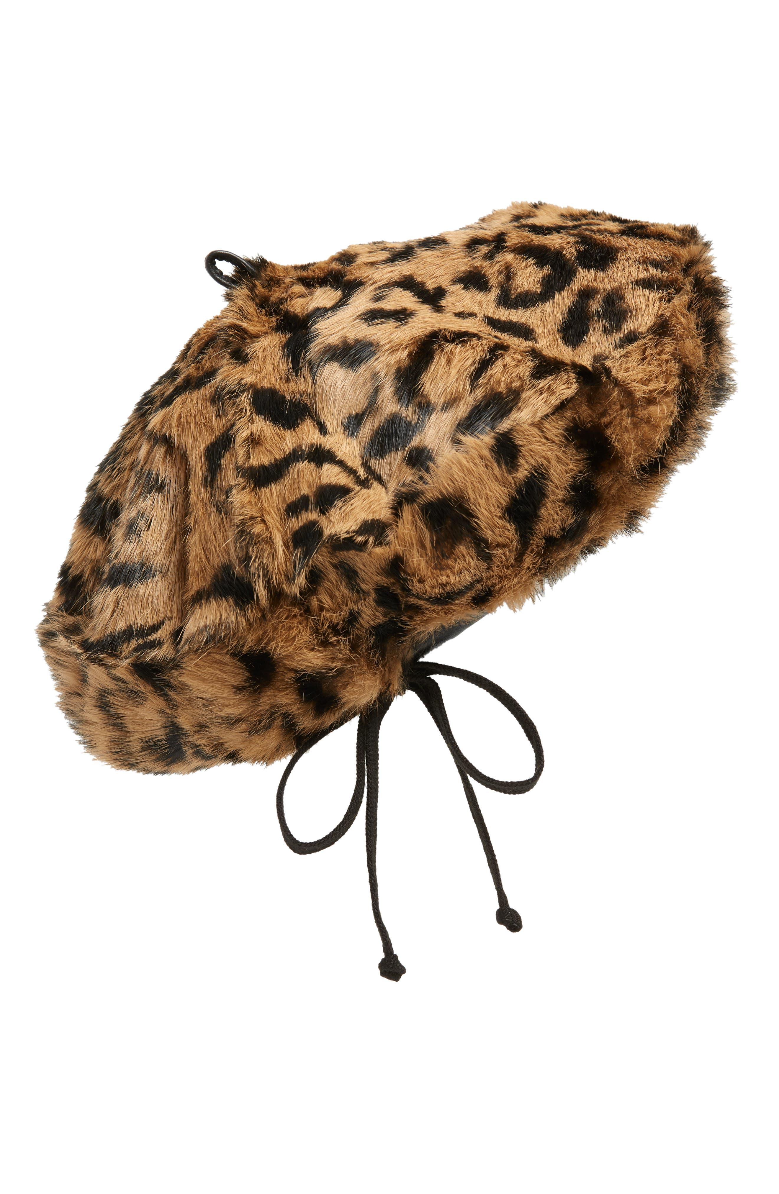 Jag Leopard Print Genuine Rabbit Fur Beret,                             Alternate thumbnail 2, color,                             NATURAL