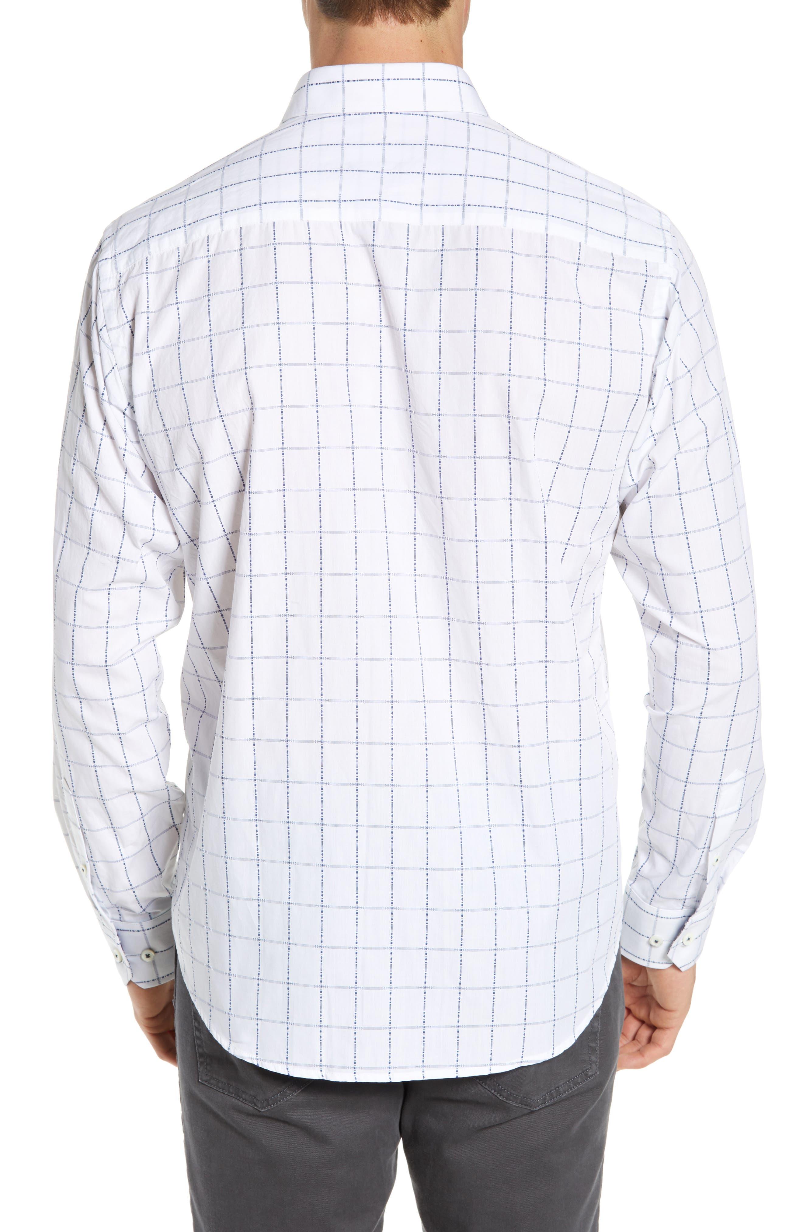 BUGATCHI,                             Classic Fit Grid Sport Shirt,                             Alternate thumbnail 3, color,                             SNOW