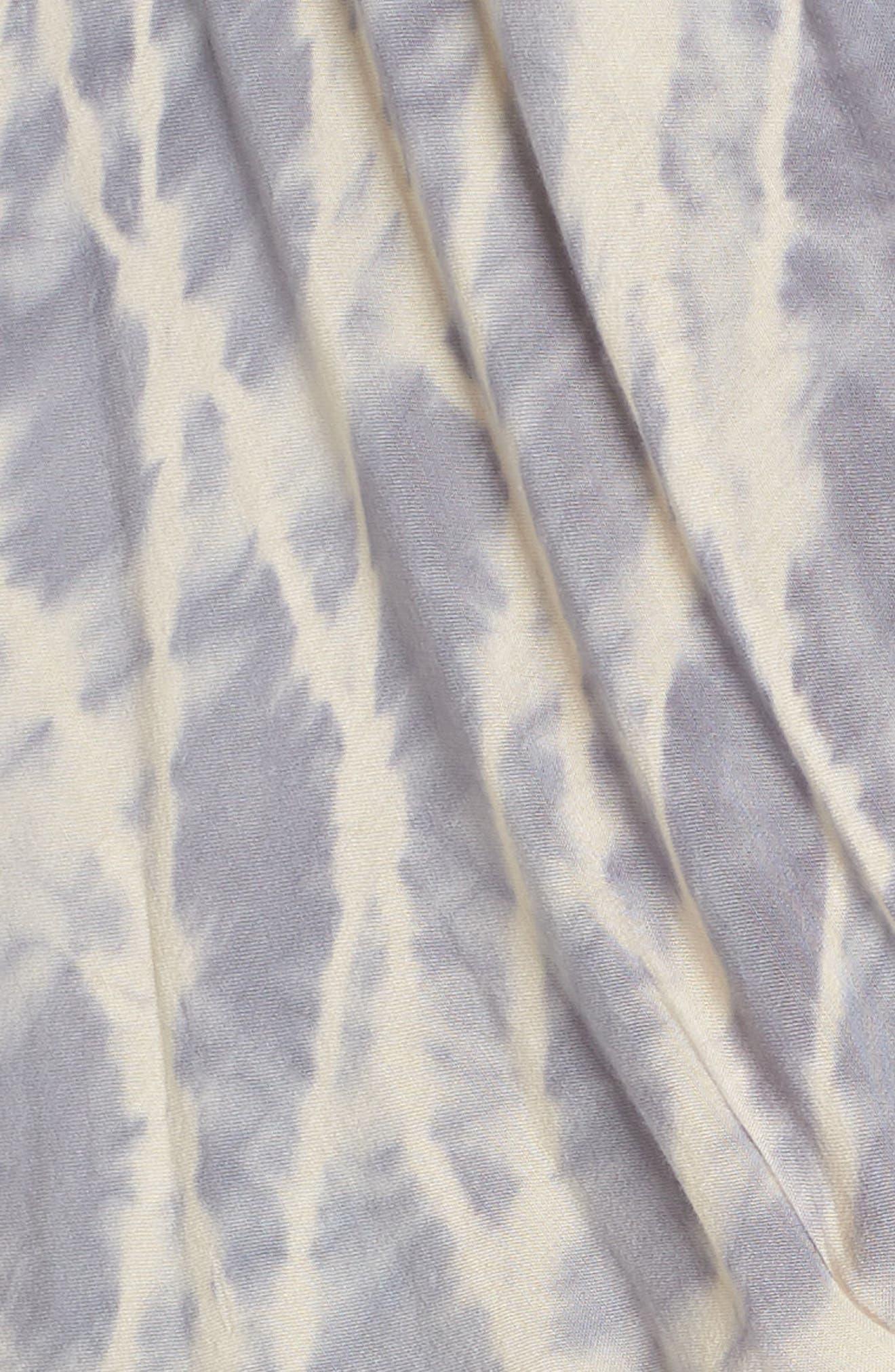 Tie Dye Surplice Cover-Up Romper,                             Alternate thumbnail 5, color,                             PEACH/ GREY