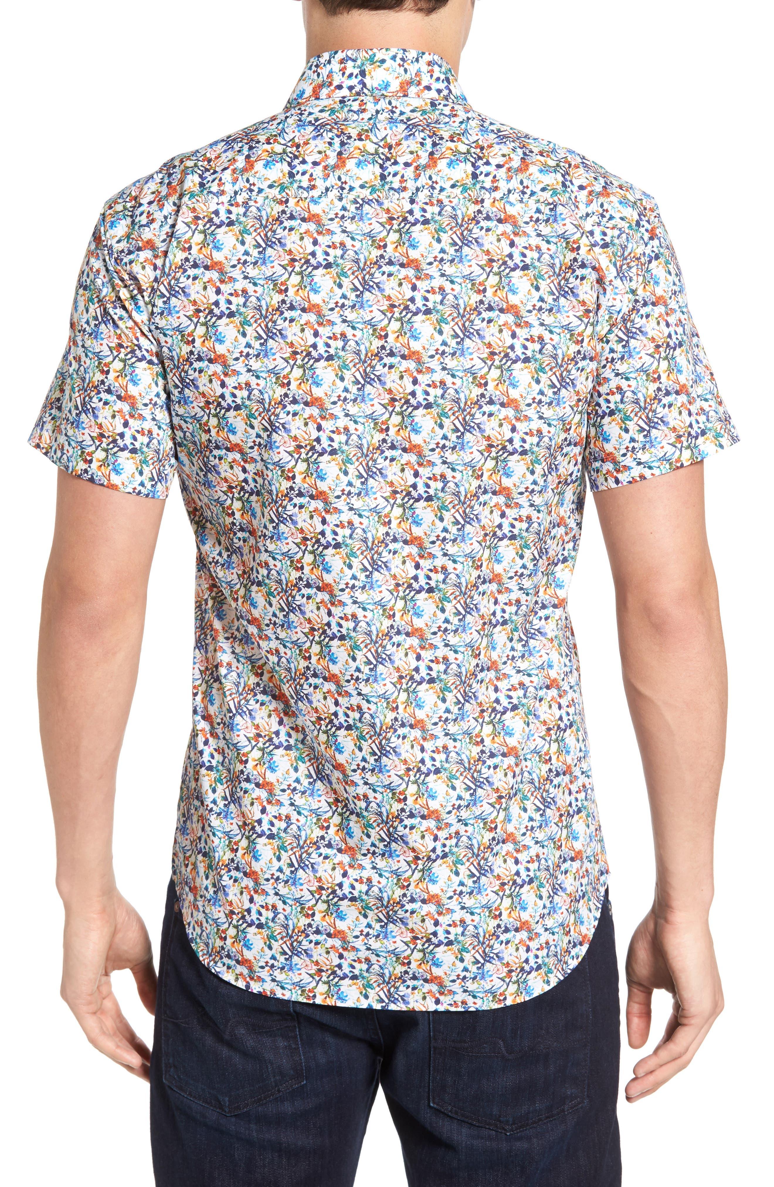 Trim Fit Floral Sport Shirt,                             Alternate thumbnail 2, color,                             100