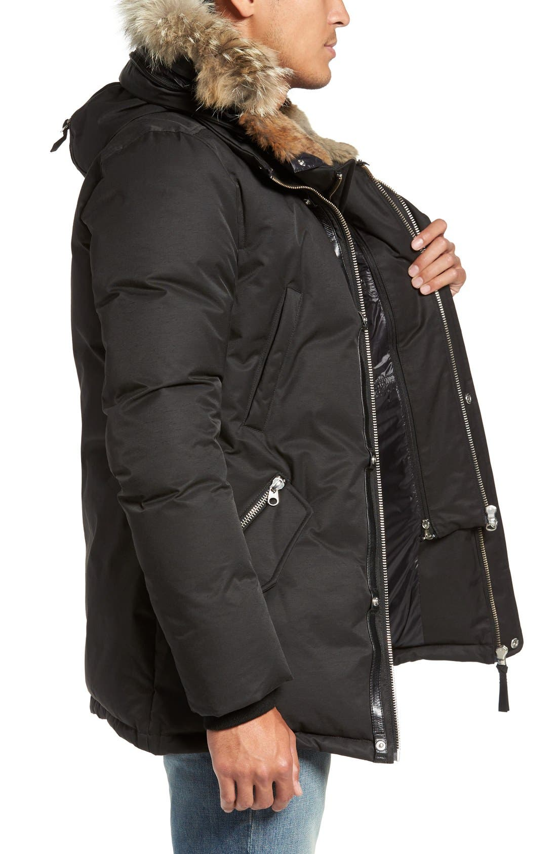 'Edward' Down Parka with Genuine Coyote and Rabbit Fur Trim,                             Alternate thumbnail 3, color,                             001