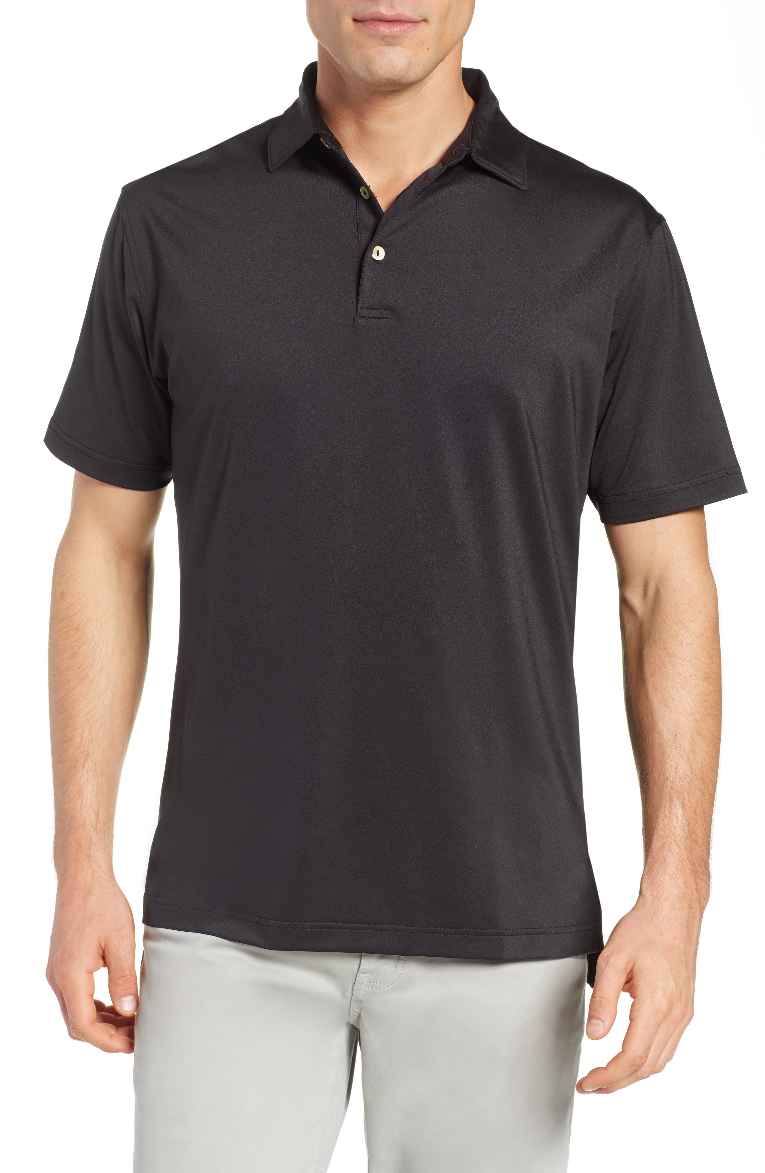 PETER MILLAR,                             Sean Regular Fit Stretch Jersey Polo,                             Main thumbnail 1, color,                             BLACK