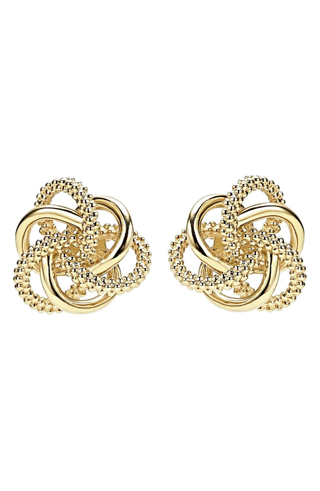 'Love Knot' 18k Gold Stud Earrings,                             Alternate thumbnail 5, color,                             GOLD