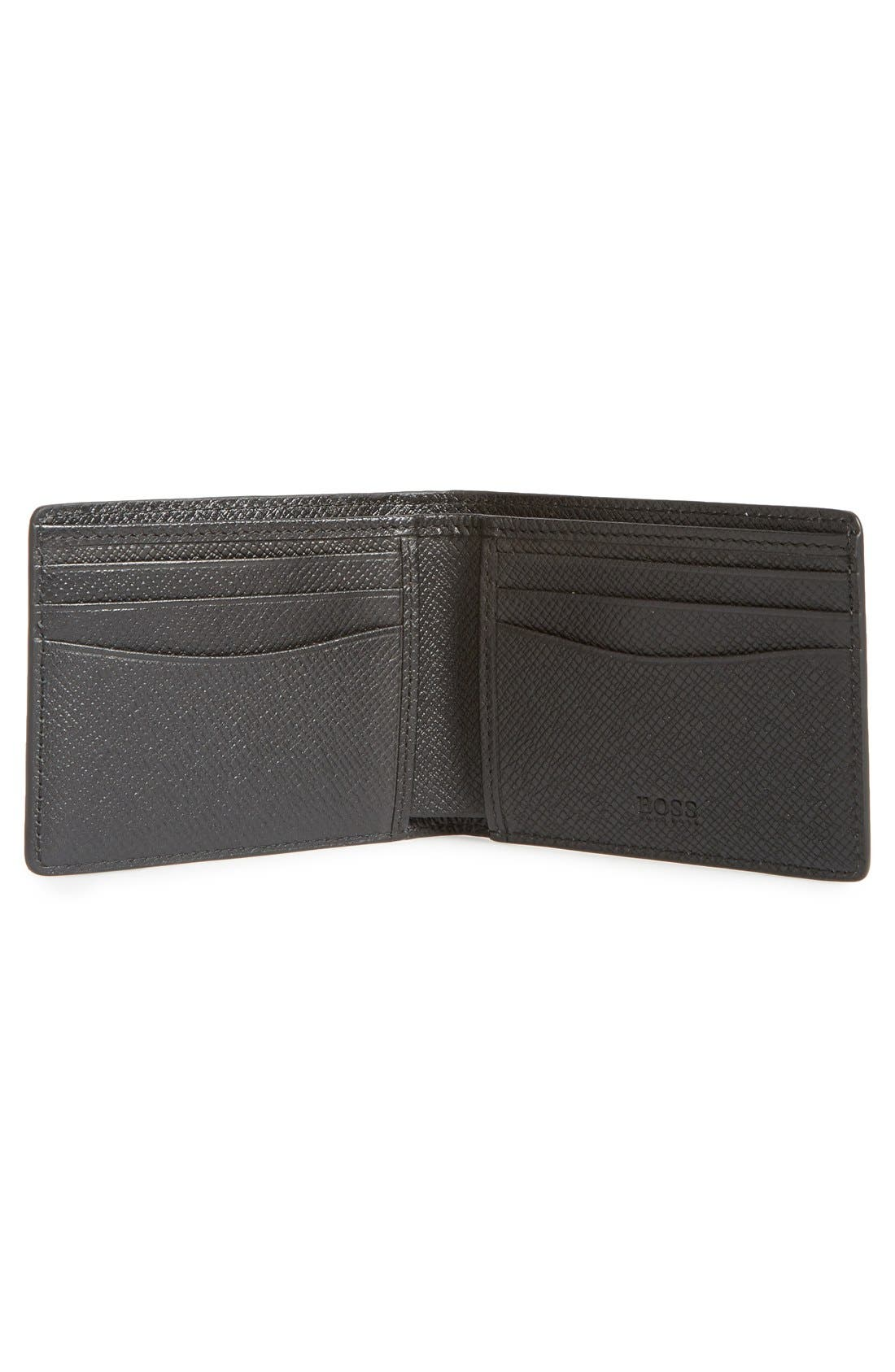 BOSS,                             'Signature' Bifold Calfskin Leather Wallet,                             Alternate thumbnail 2, color,                             BLACK