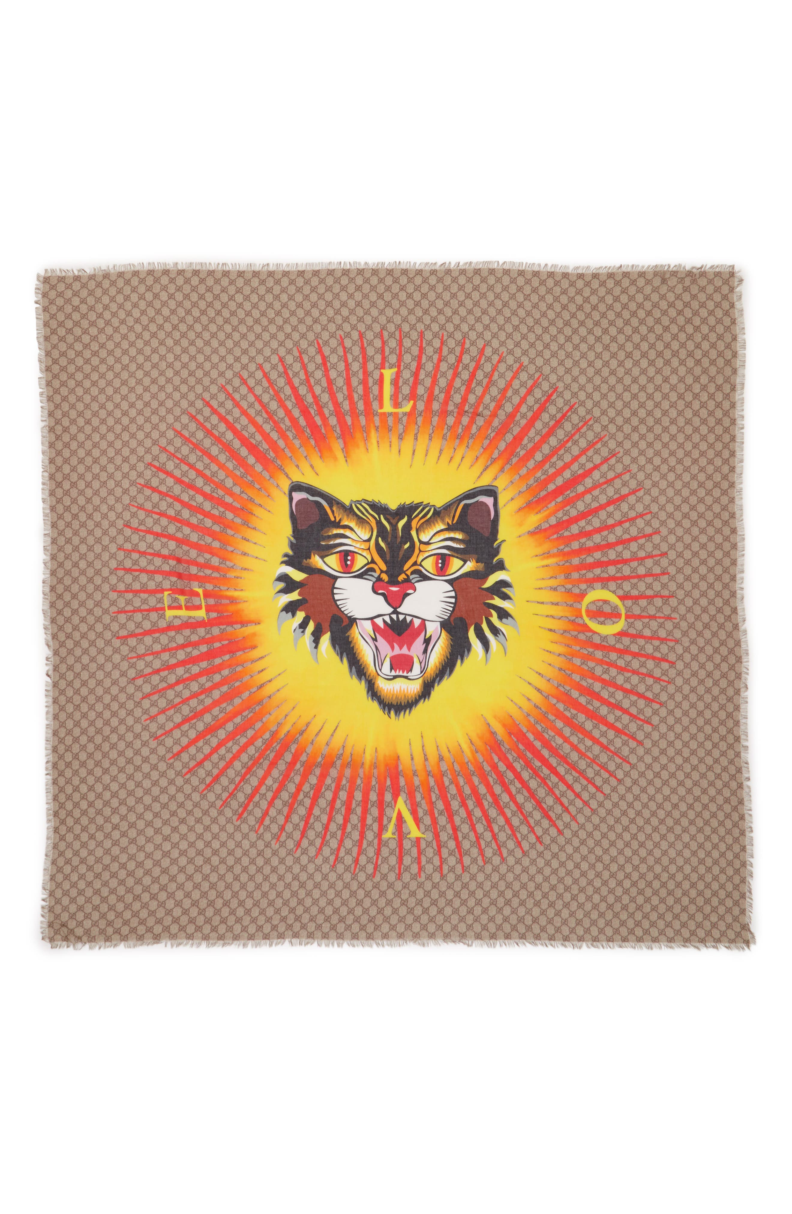 Sun Angry Cat Print Modal & Silk Scarf,                             Alternate thumbnail 2, color,                             250