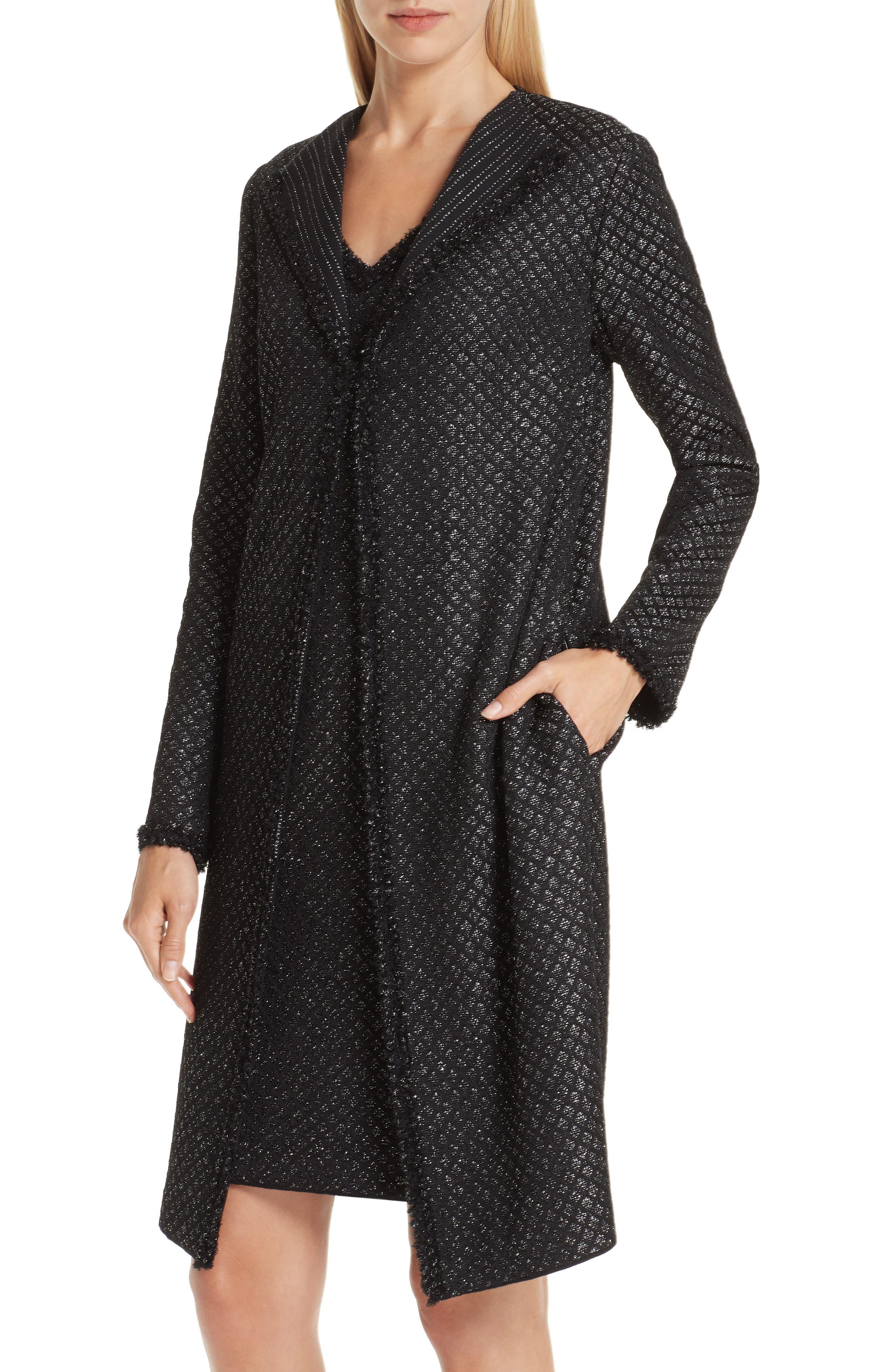 Shimmer Inlay Brocade Knit Jacket,                             Alternate thumbnail 4, color,                             CAVIAR/ SILVER