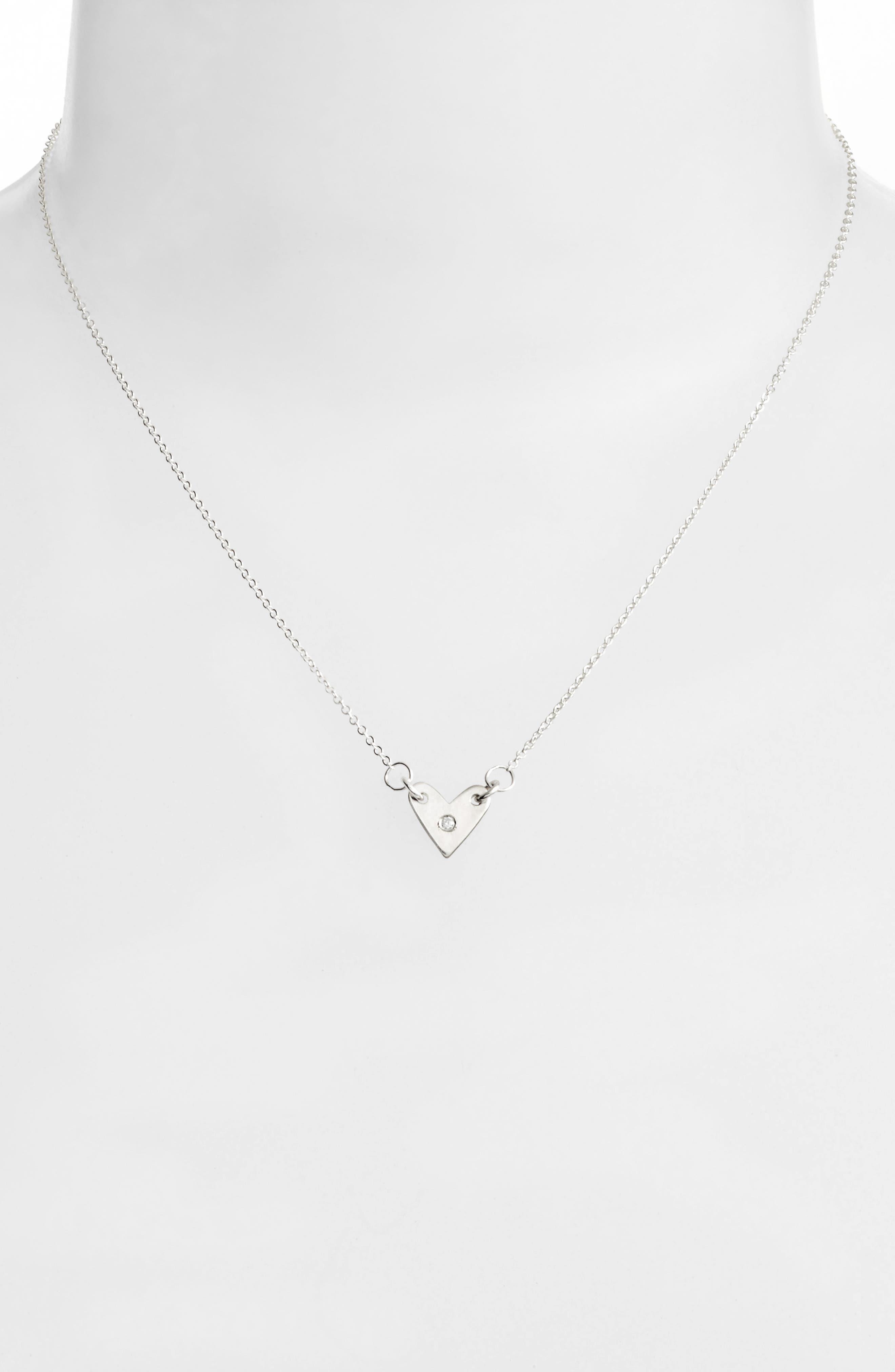 Diamond Heart Necklace,                             Alternate thumbnail 3, color,