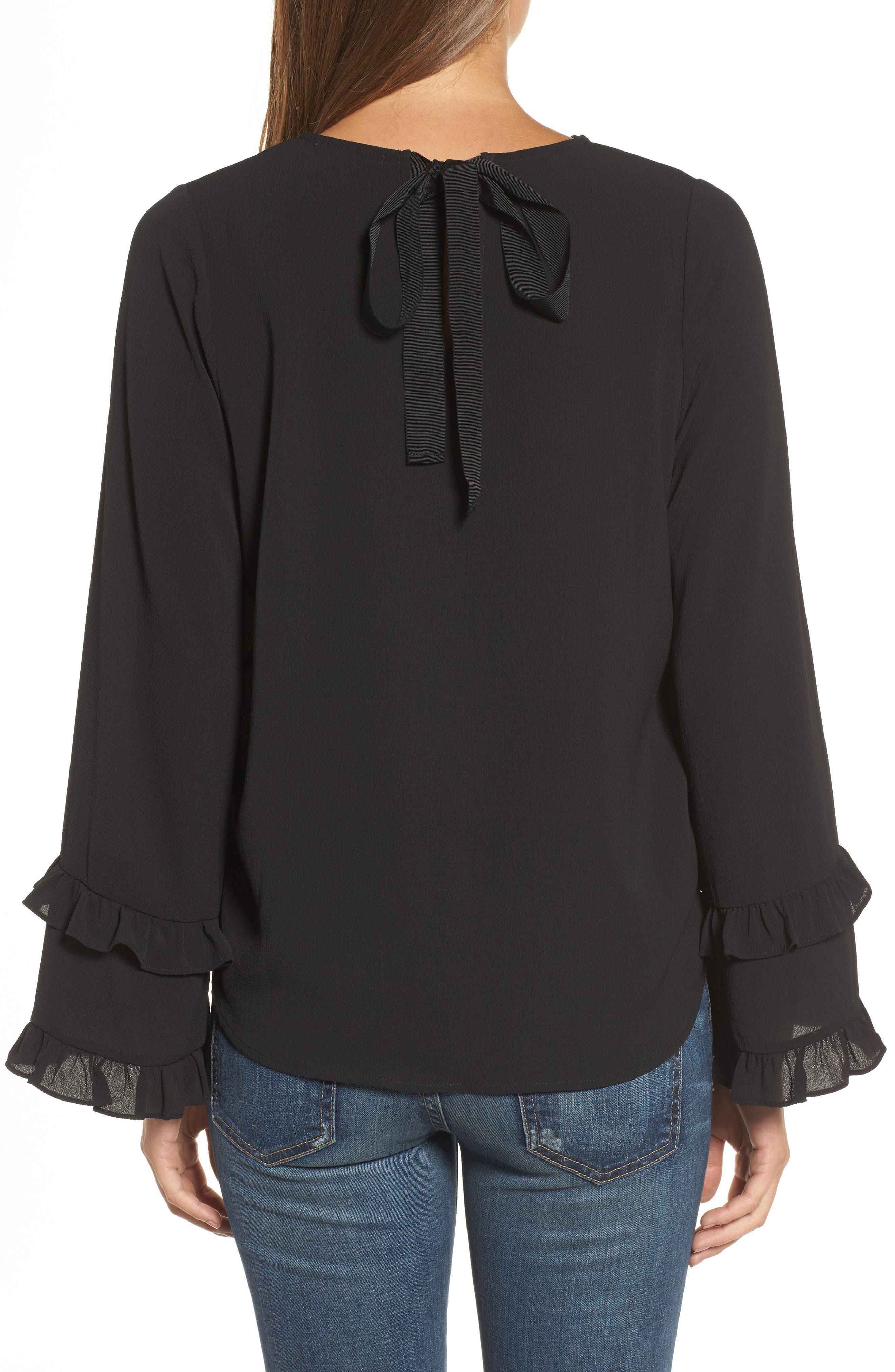 Ruffle Bell Sleeve Top,                             Alternate thumbnail 2, color,                             001