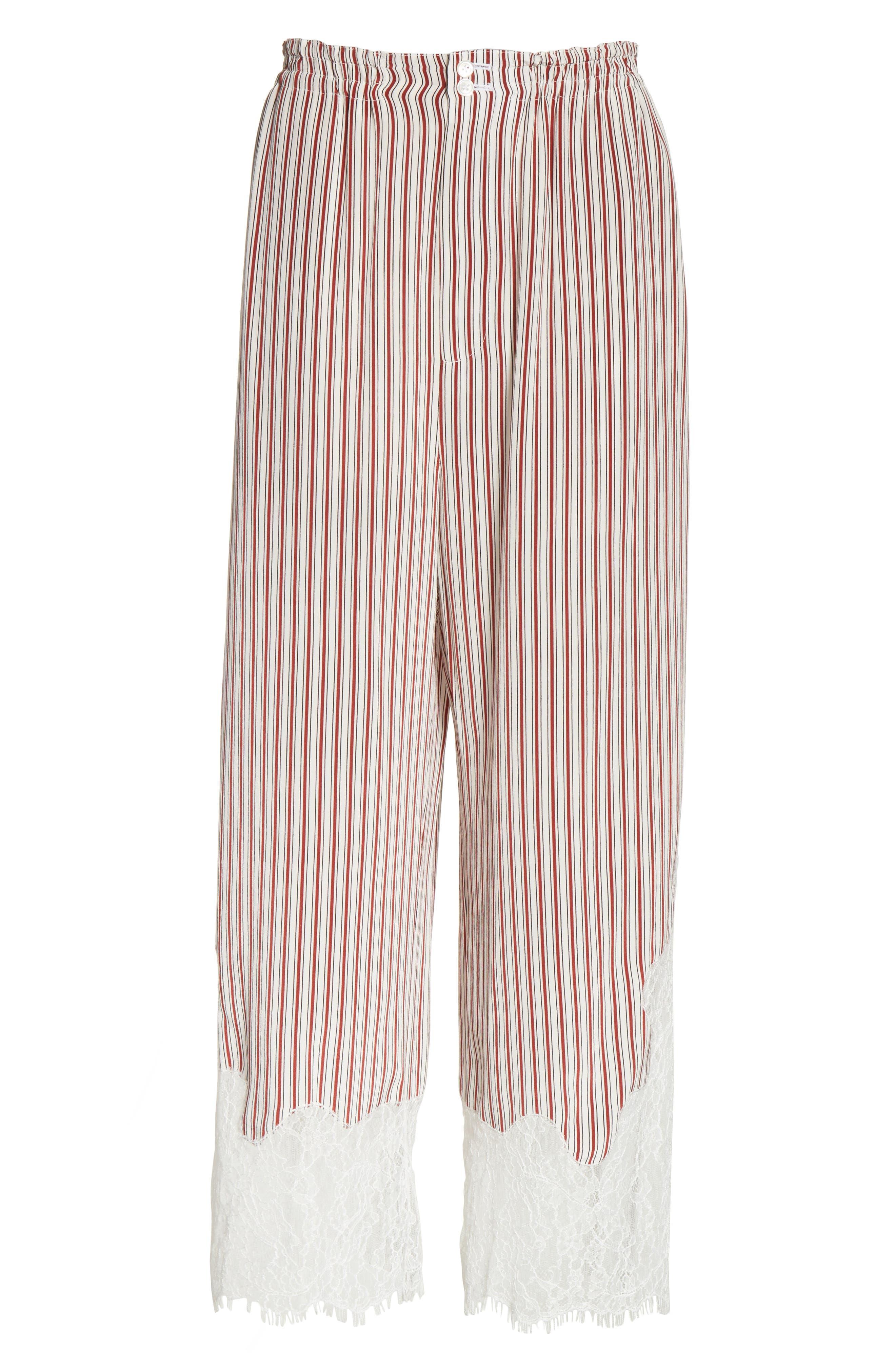 Lace Hem Stripe Pants,                             Alternate thumbnail 6, color,                             600
