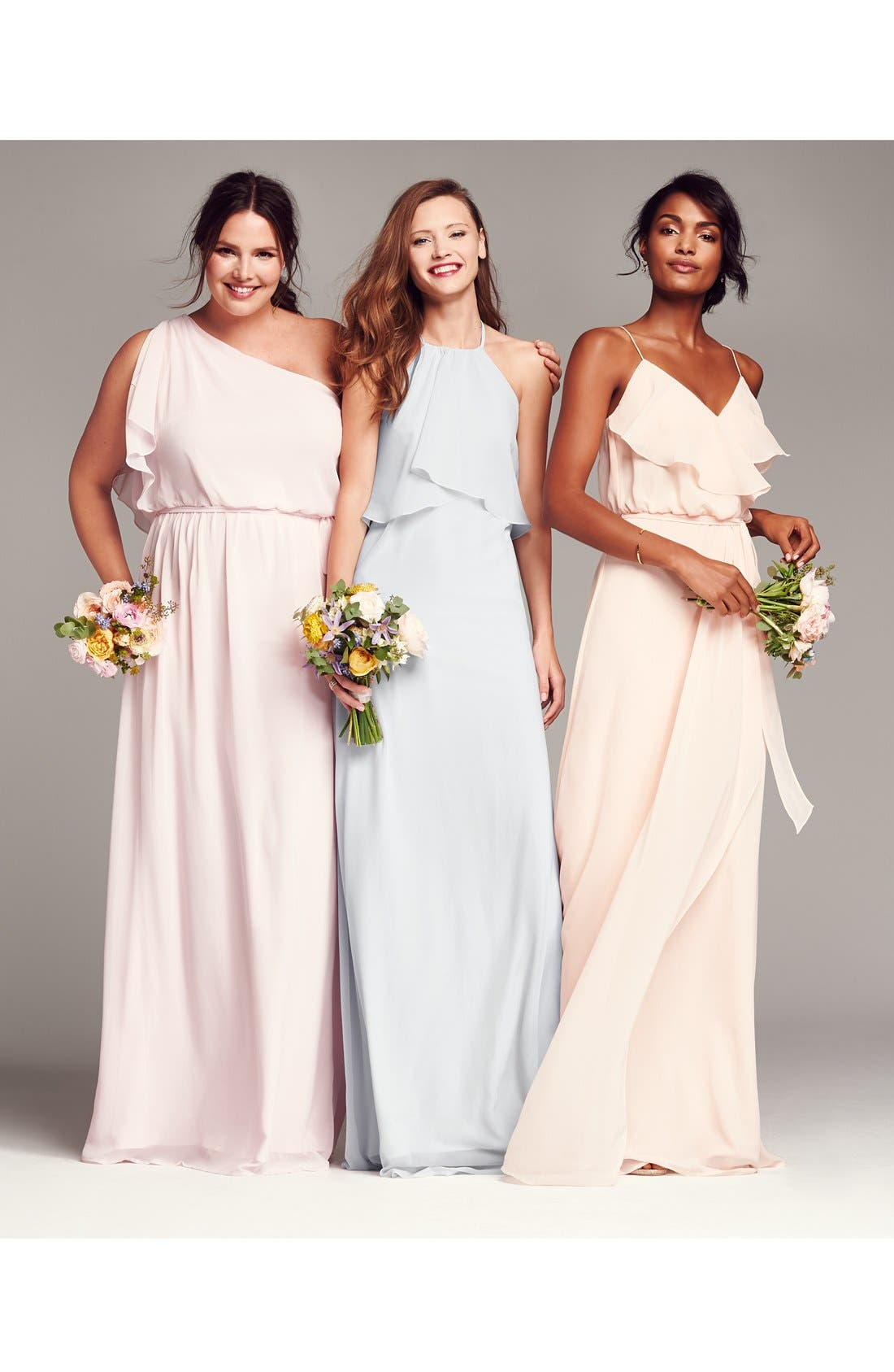 'Drew' Ruffle Front Chiffon Gown,                             Alternate thumbnail 9, color,                             052