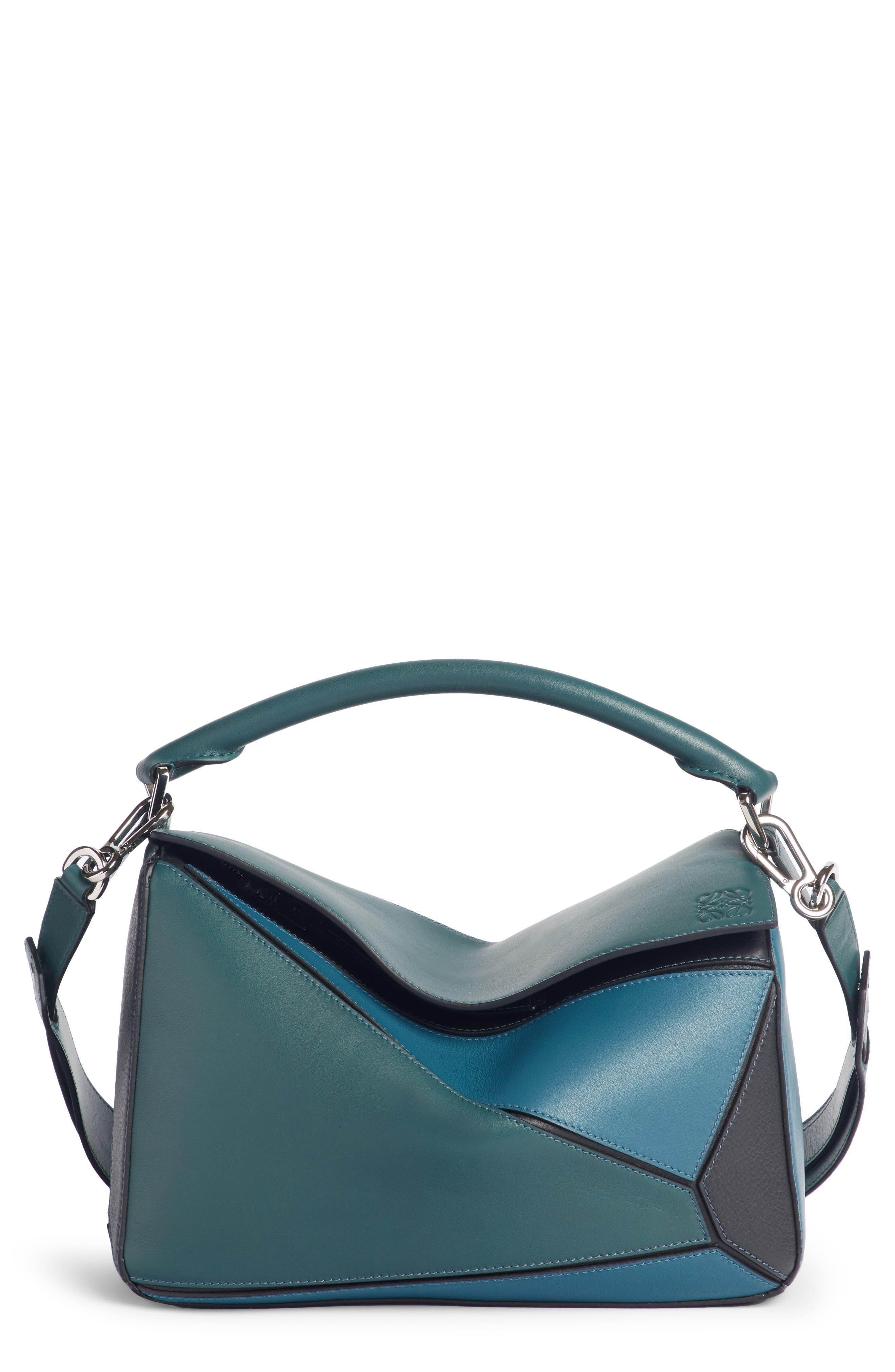 Medium Puzzle Calfskin Leather Shoulder Bag,                             Main thumbnail 1, color,                             PETROLEUM BLUE/ CYPRESS