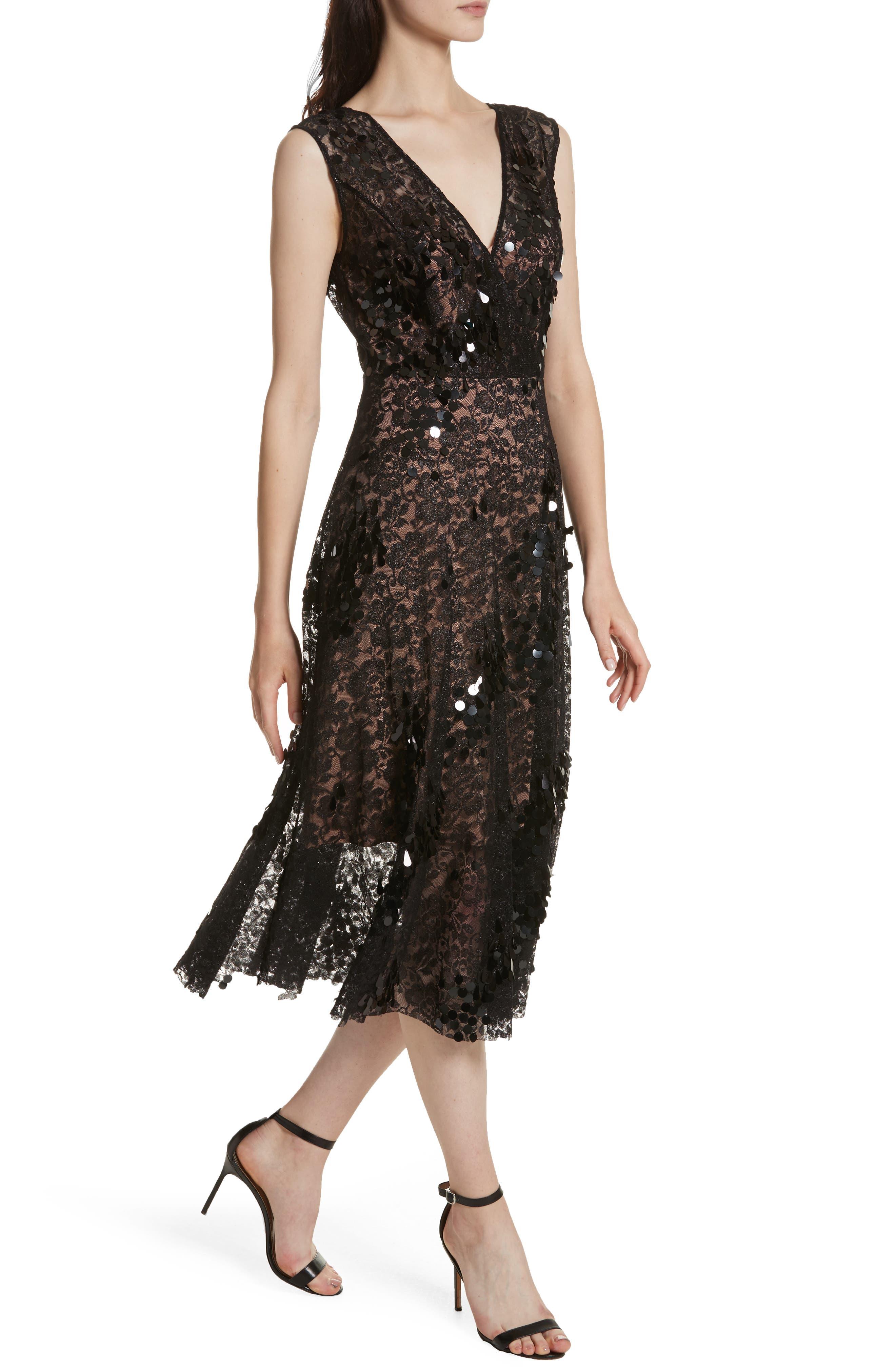 Lace Fit & Flare Midi Dress,                             Alternate thumbnail 4, color,