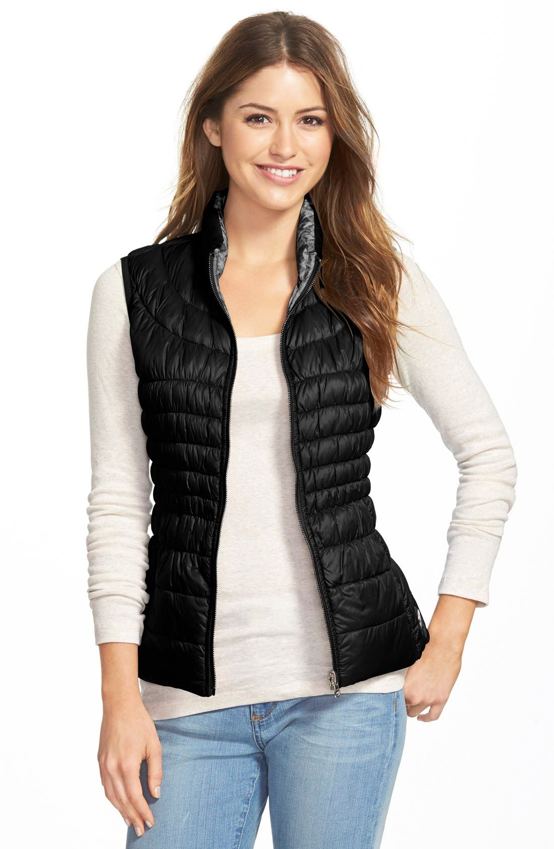 Packable Reversible Down & PrimaLoft<sup>®</sup> Vest,                         Main,                         color, 001