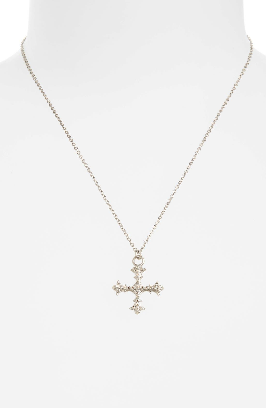 Old World Diamond Cross Pendant Necklace,                             Alternate thumbnail 2, color,                             SILVER