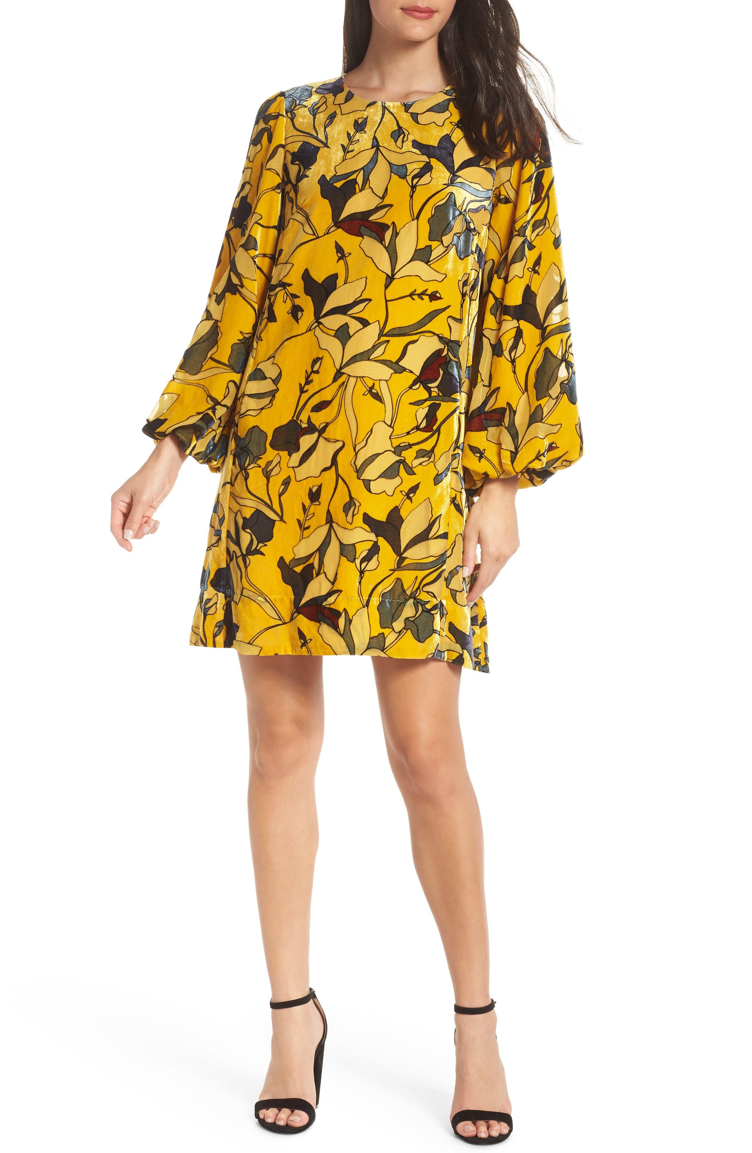 Aventine Velvet Tunic Dress,                             Main thumbnail 1, color,                             CALLUNA YELLOW