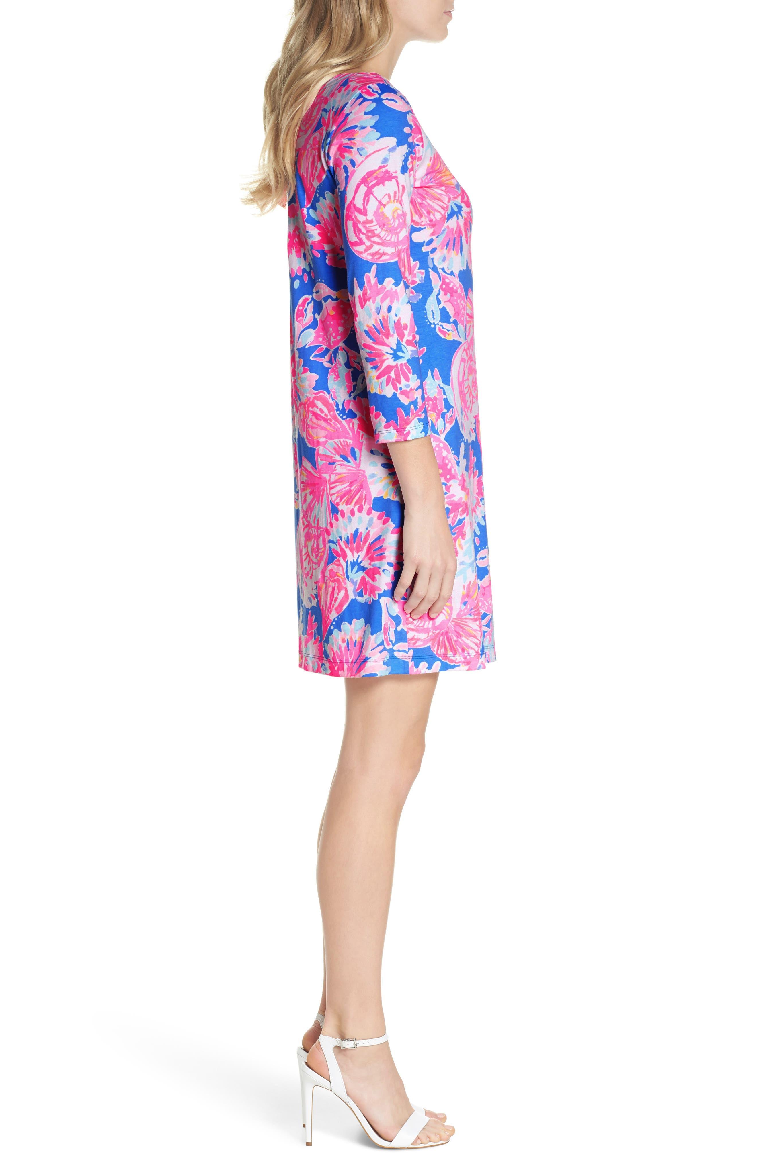 Noelle Floral Shift Dress,                             Alternate thumbnail 3, color,                             650