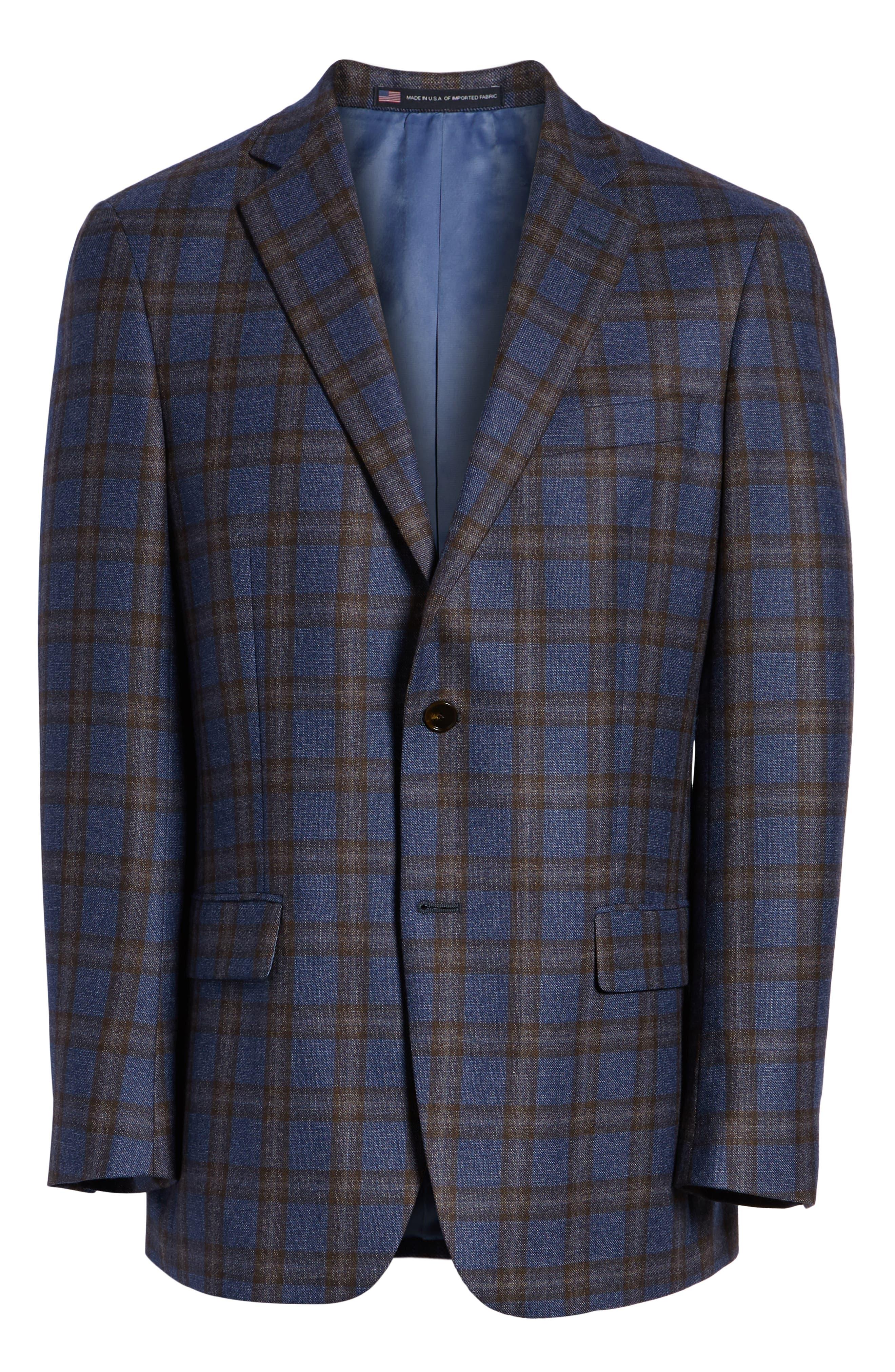 Classic Fit Plaid Wool Sport Coat,                             Alternate thumbnail 5, color,                             420