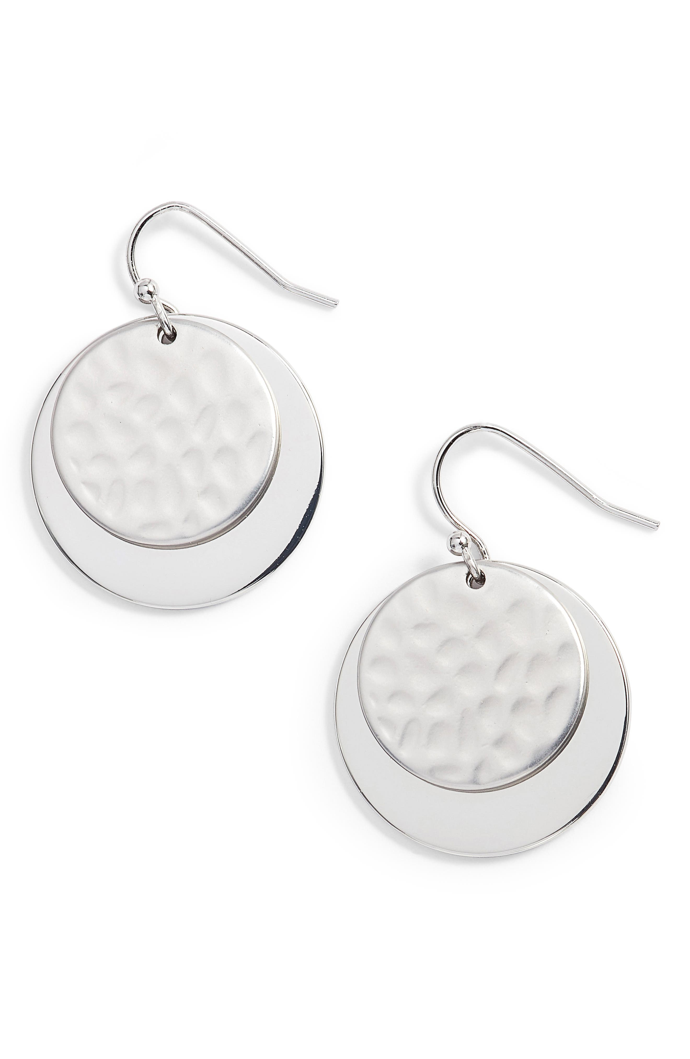 Hammered Metal Double Disc Earrings,                             Main thumbnail 1, color,                             040