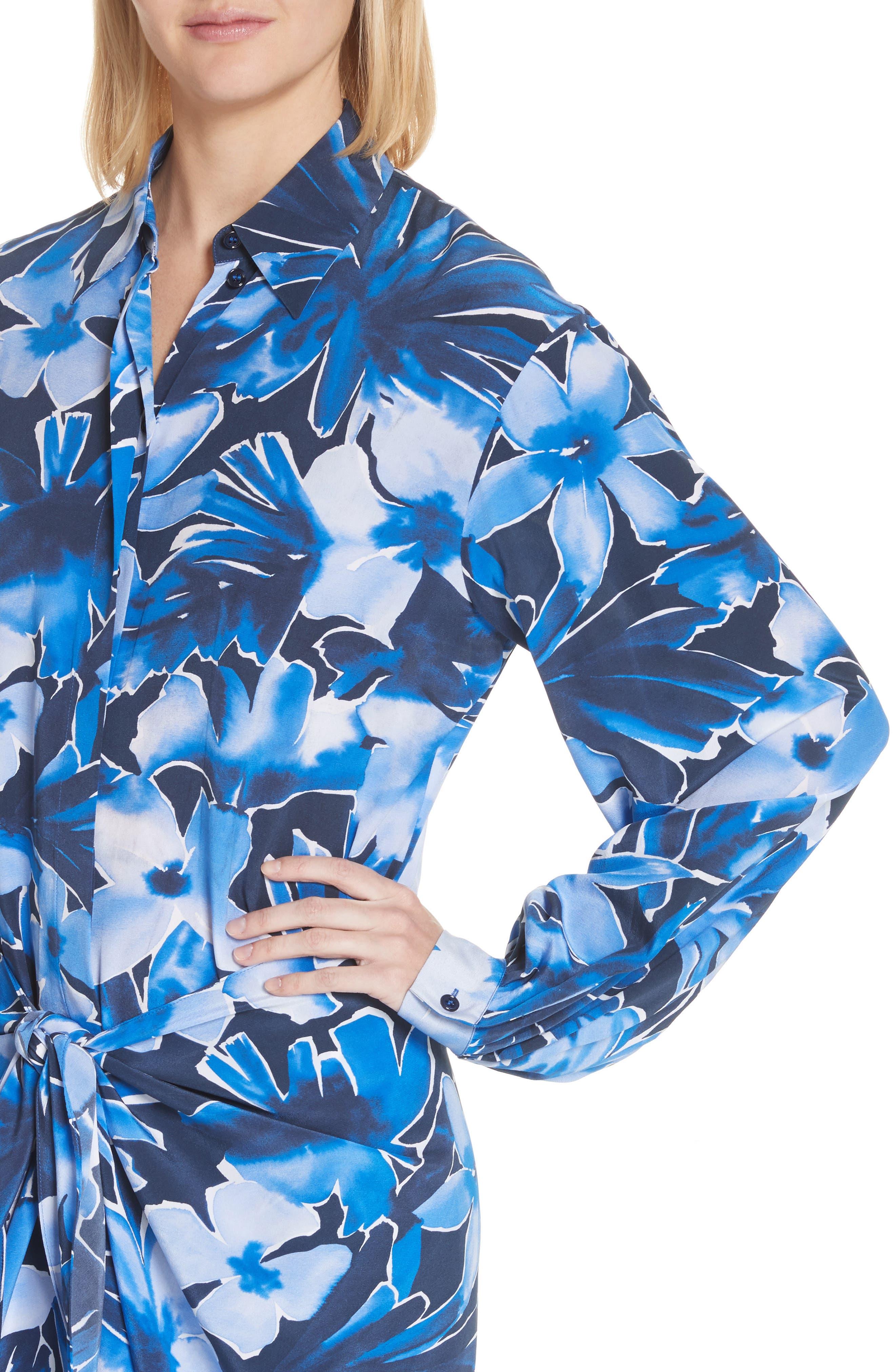 Floral Silk Sarong Dress,                             Alternate thumbnail 4, color,