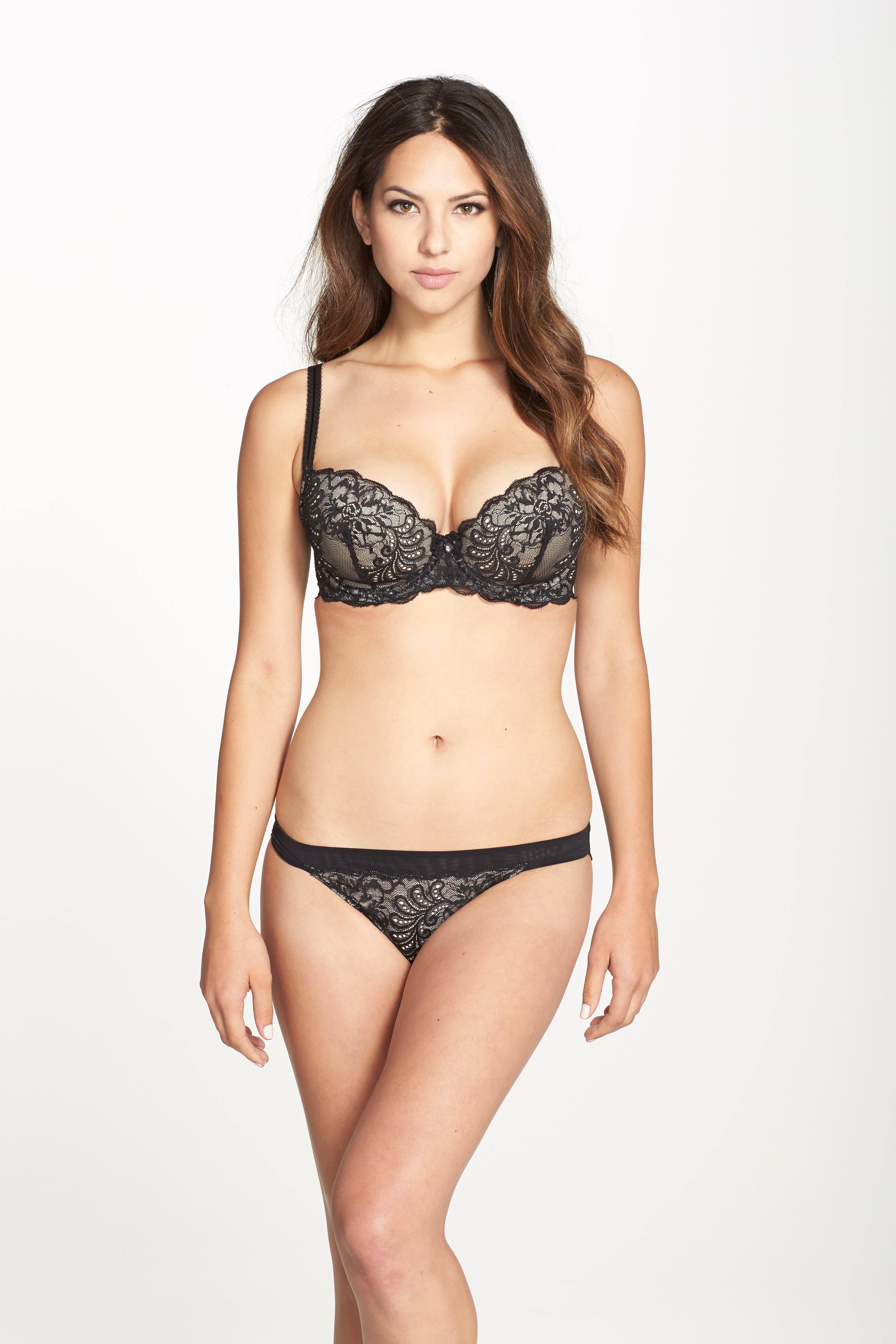 'Sophia' Lace Bikini,                             Alternate thumbnail 2, color,                             BLACK