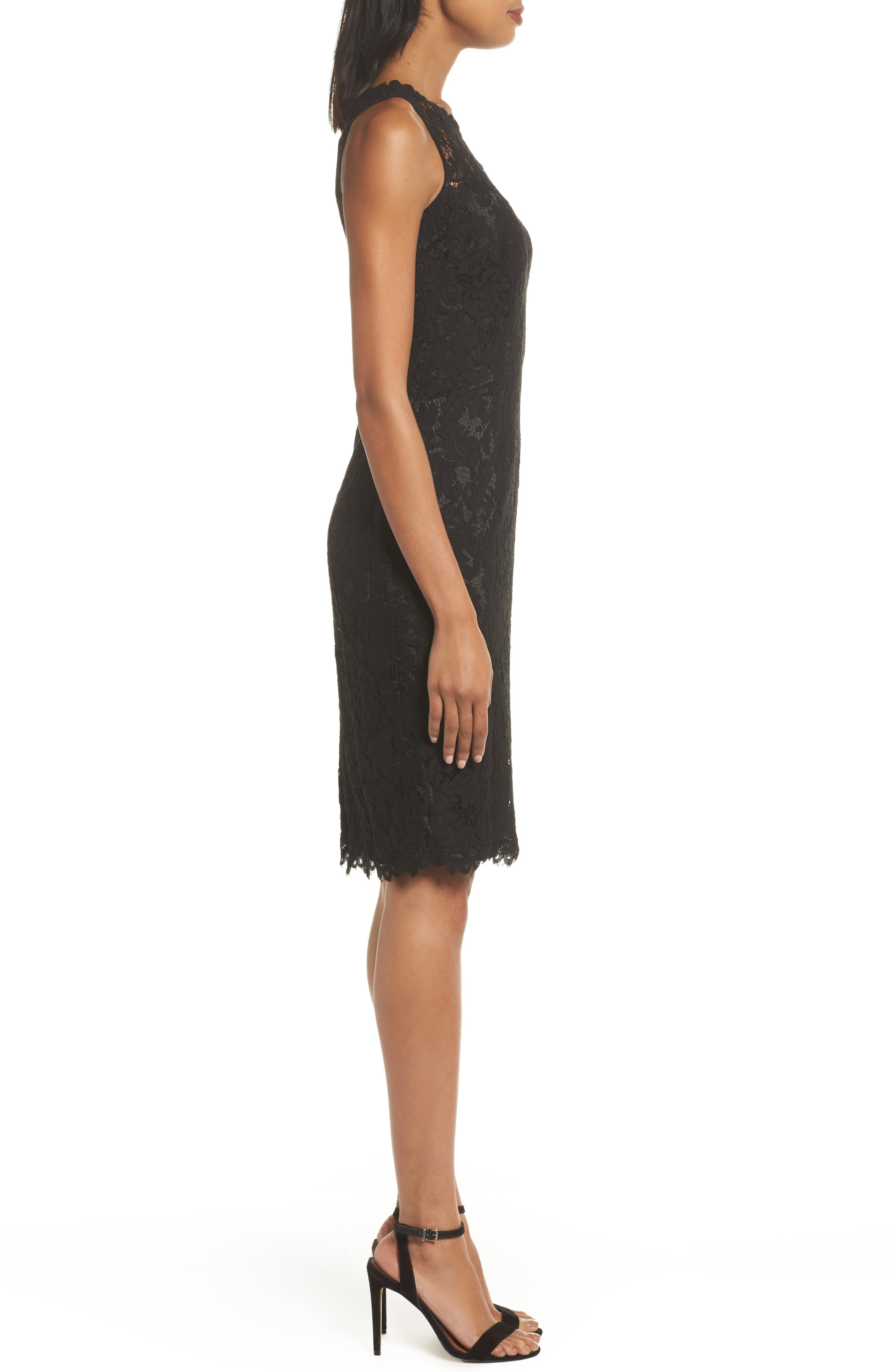 One-Shoulder Lace Sheath Dress,                             Alternate thumbnail 3, color,                             001