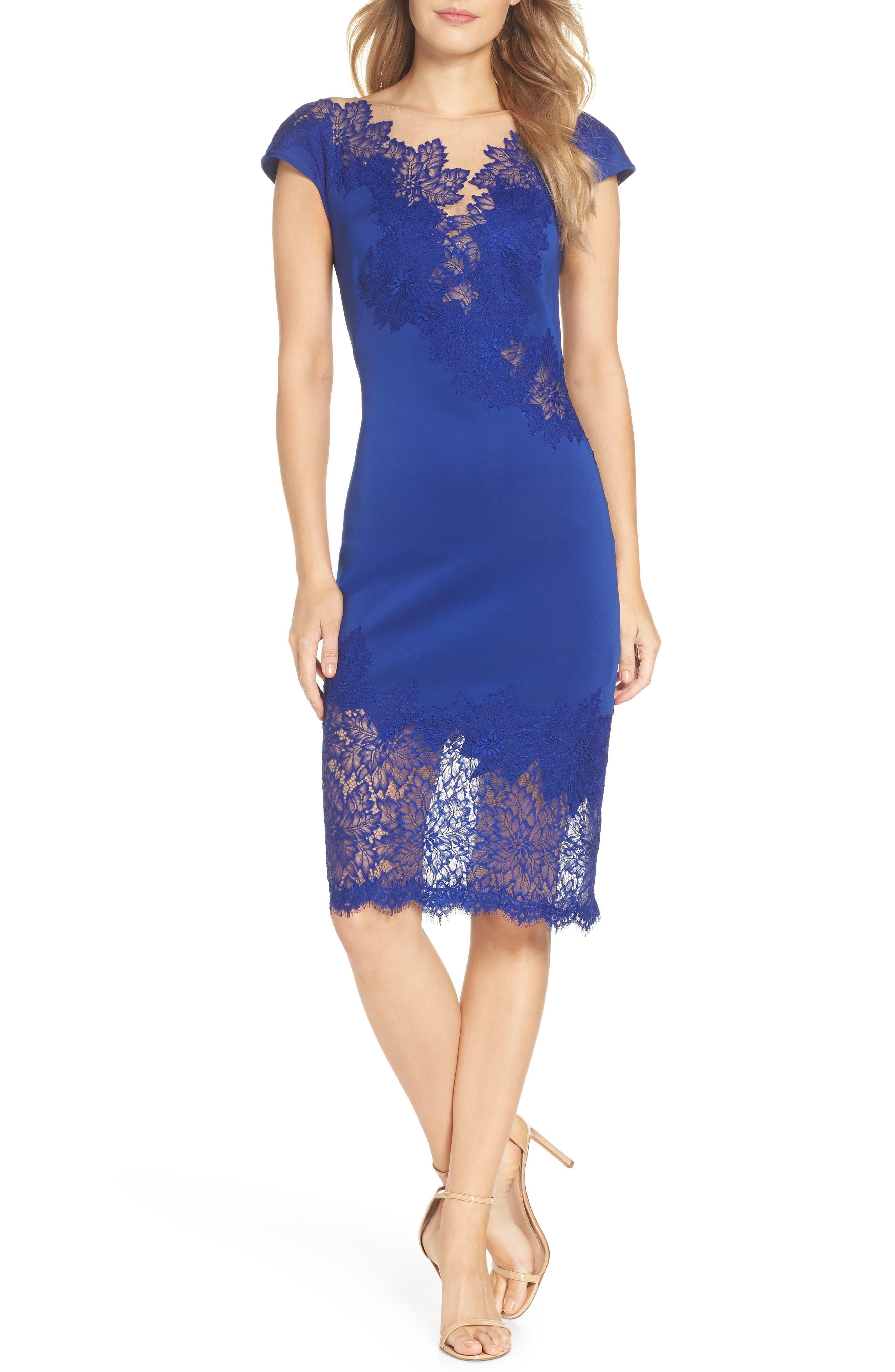 Lace Sheath Dress,                             Main thumbnail 1, color,                             LAKE