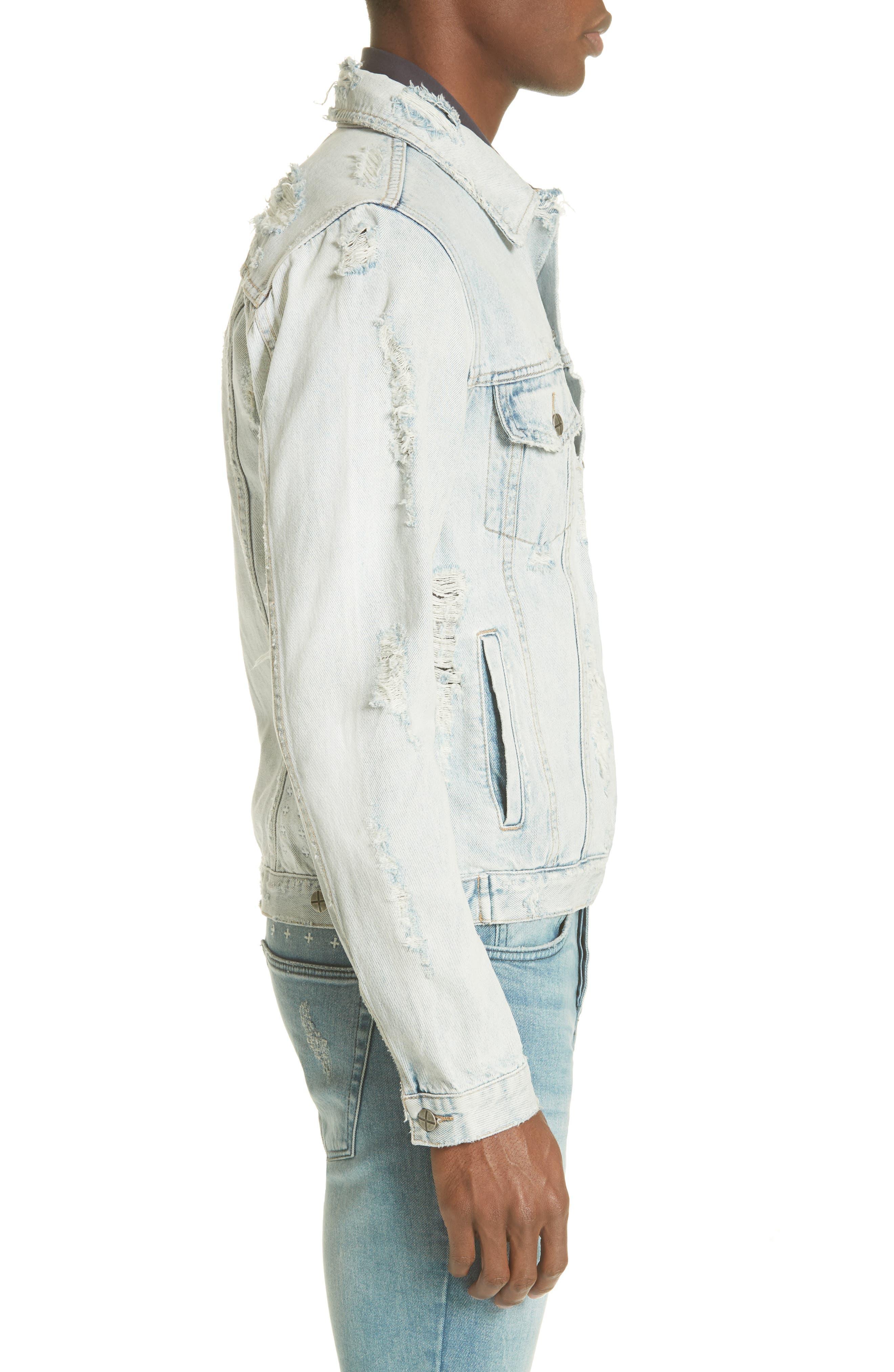 Chaser Ripped Denim Jacket,                             Alternate thumbnail 3, color,                             DENIM